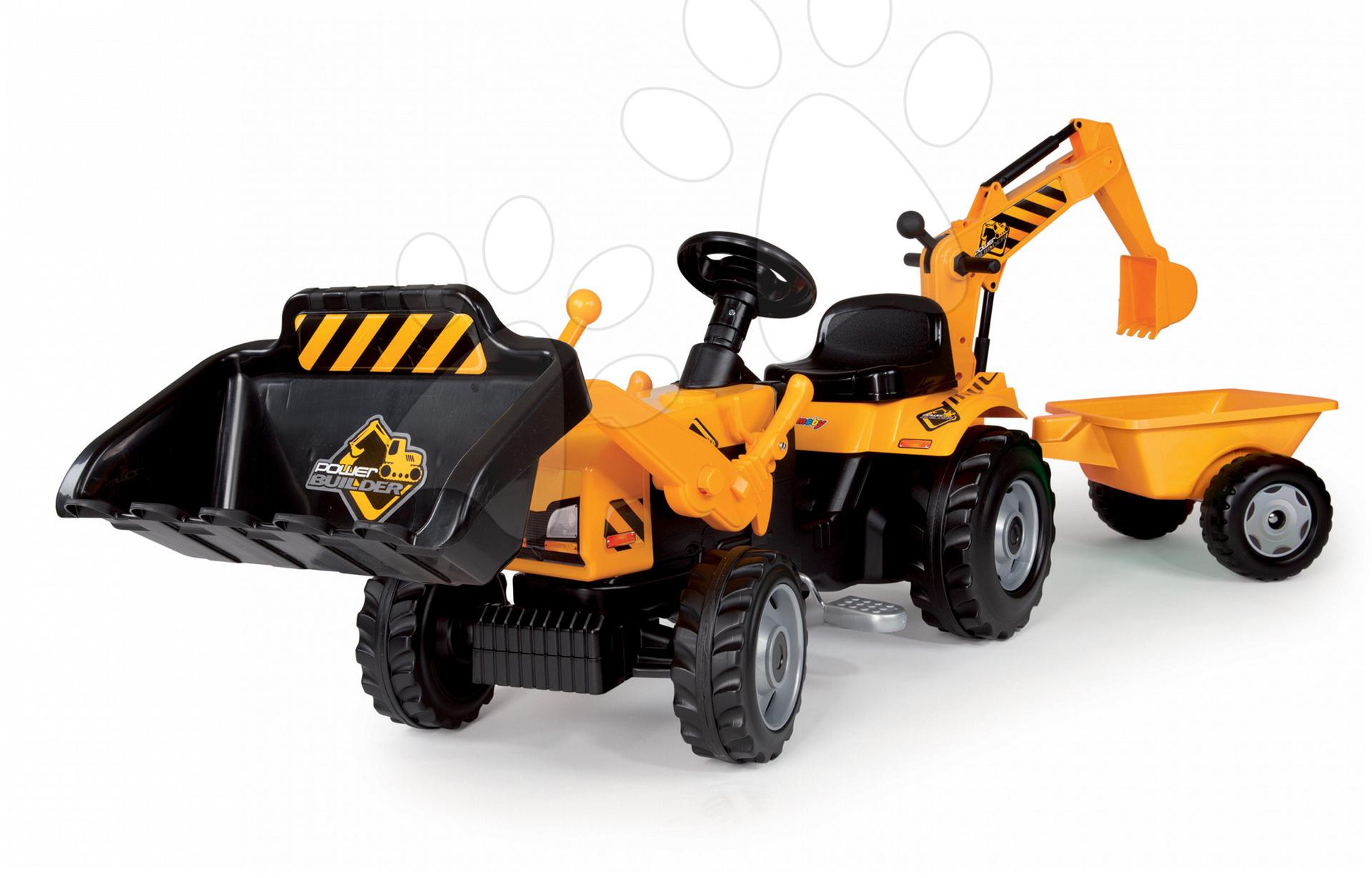 Traktor Power Builder Max Smoby s prívesom, bagrom a nakladačom žltý