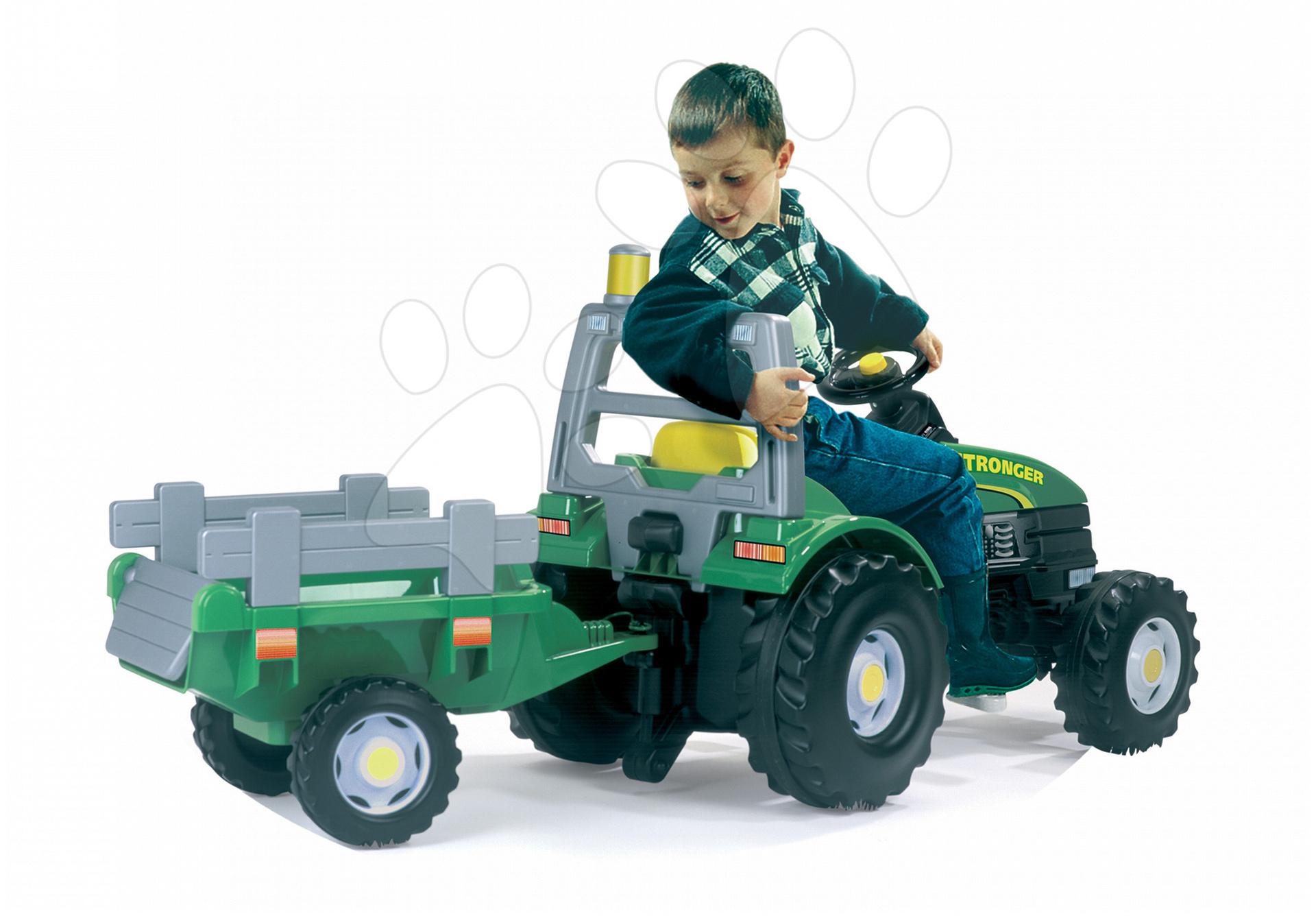 Traktor na šliapanie Stronger Smoby s lampou zelený