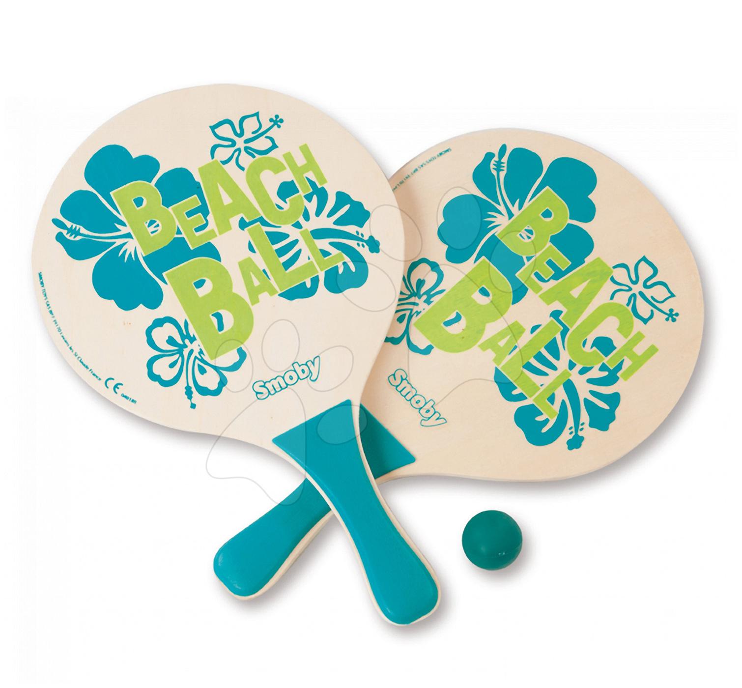 Accesorii tenis - Tenis de plajă din lemn Beach Ball Smoby cu 2 rachete şi cu minge