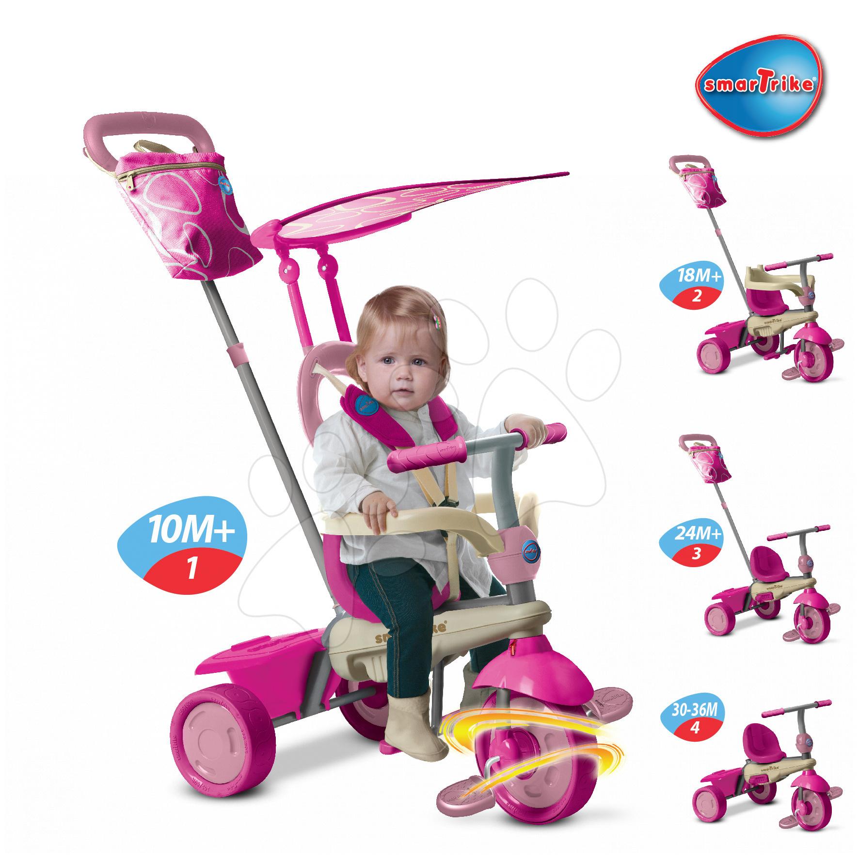Trojkolky od 10 mesiacov - Trojkolka Vanilla Touch Steering 4v1 smarTrike ružovo-krémová od 10 mes