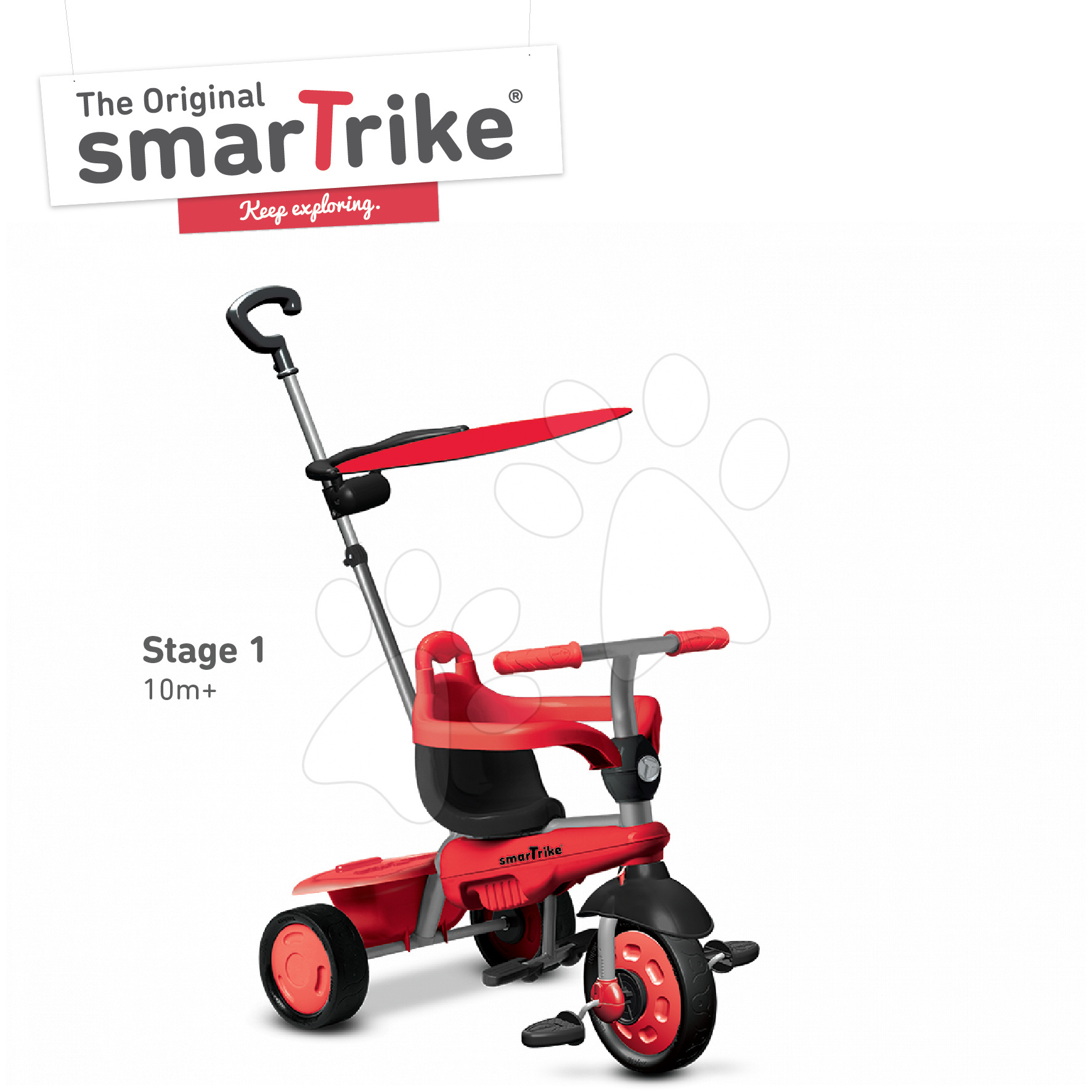 Trojkolky od 10 mesiacov - Trojkolka Carnival Red Touch Steering smarTrike 3v1 červeno-šedá od 10 mes