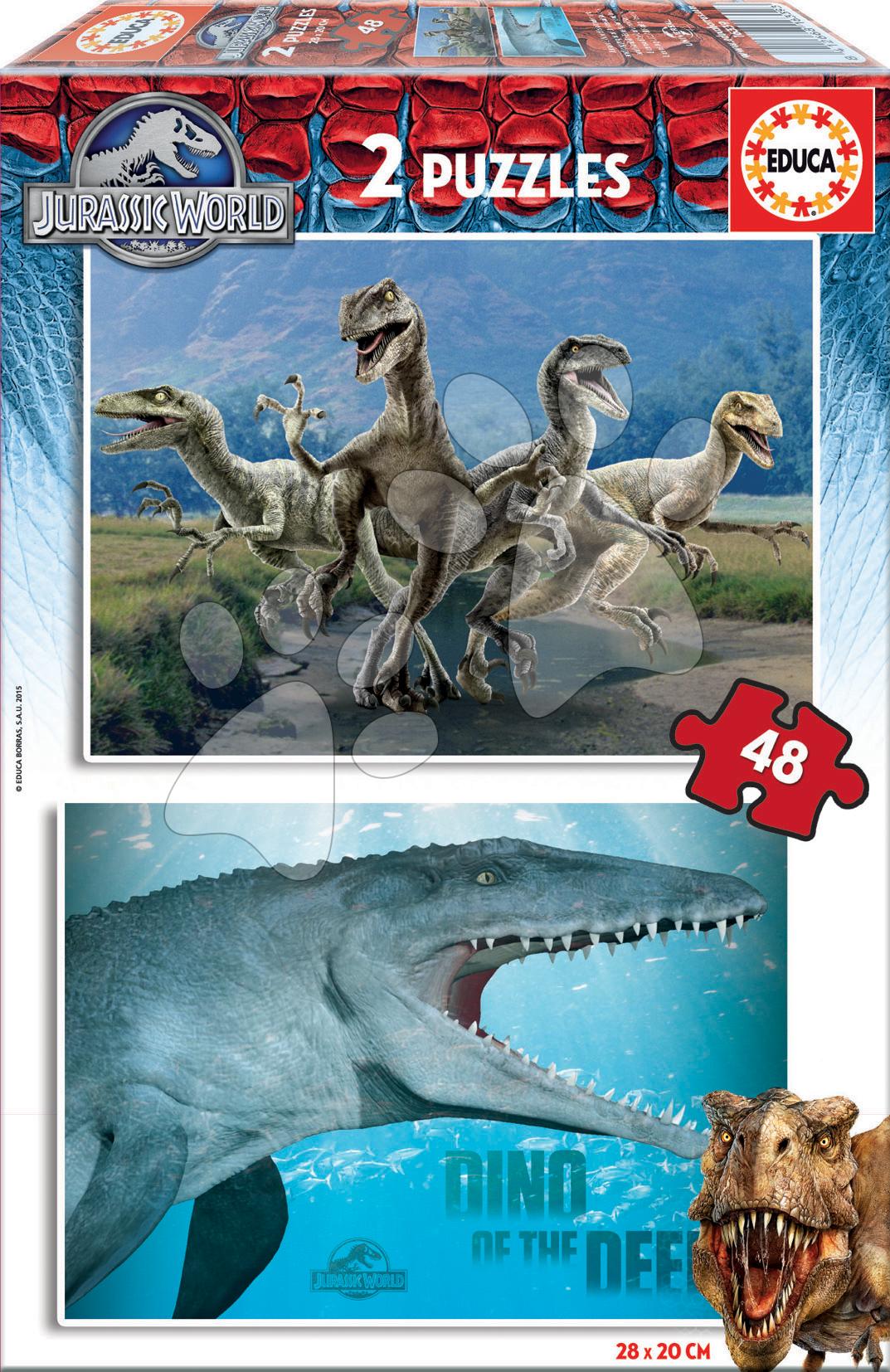 Detské puzzle do 100 dielov - Puzzle Jurský svet Educa 2x 48 dielov