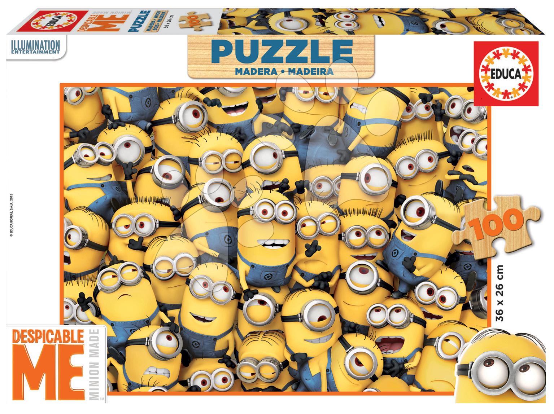 Drevené Disney puzzle - Drevené puzzle Mimoni Educa 100 dielov od 5 rokov