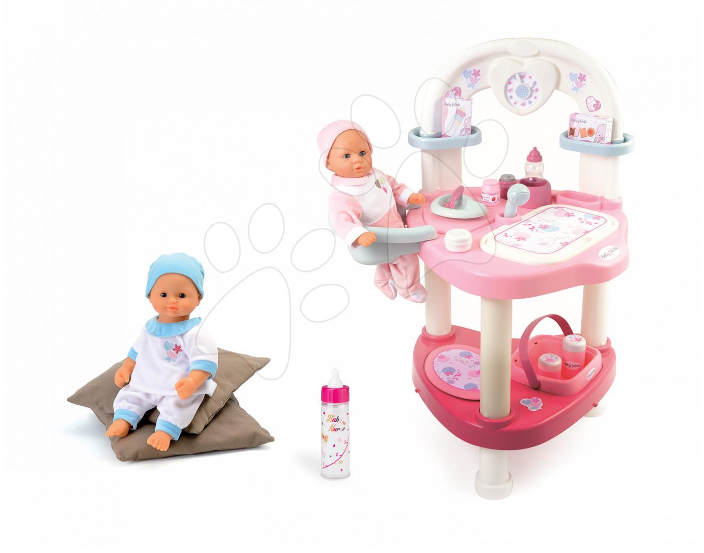 Set přebalovací stůl pro panenku Baby Nurse Srdíčko Smoby a panenka v dupačkách 32 cm, magická láhev