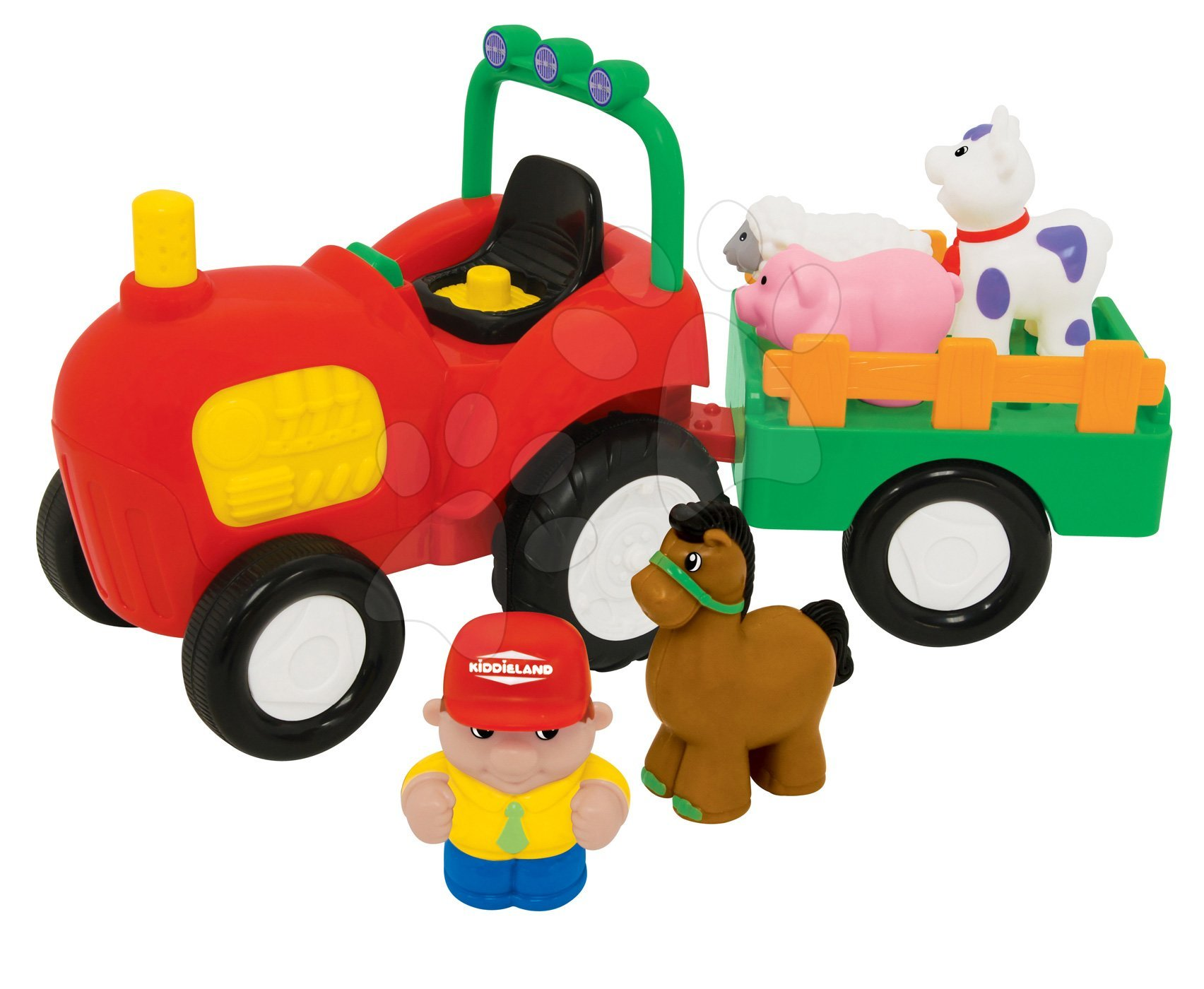 Hračky zvukové - Traktor Activity Kiddieland so zvieratkami a zvukom od 12 mes