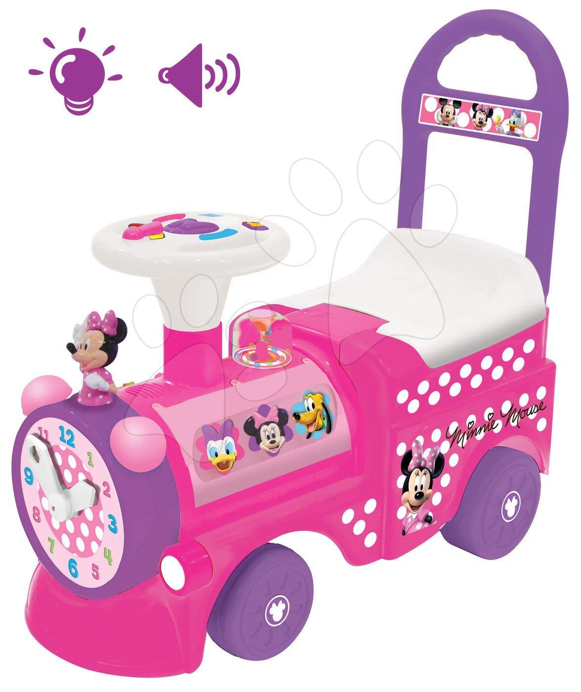 Odrážadlá so zvukom - Elektronické odrážadlo Disney Kiddieland lokomotíva Minnie so svetlom a zvukom ružové od 12 mes