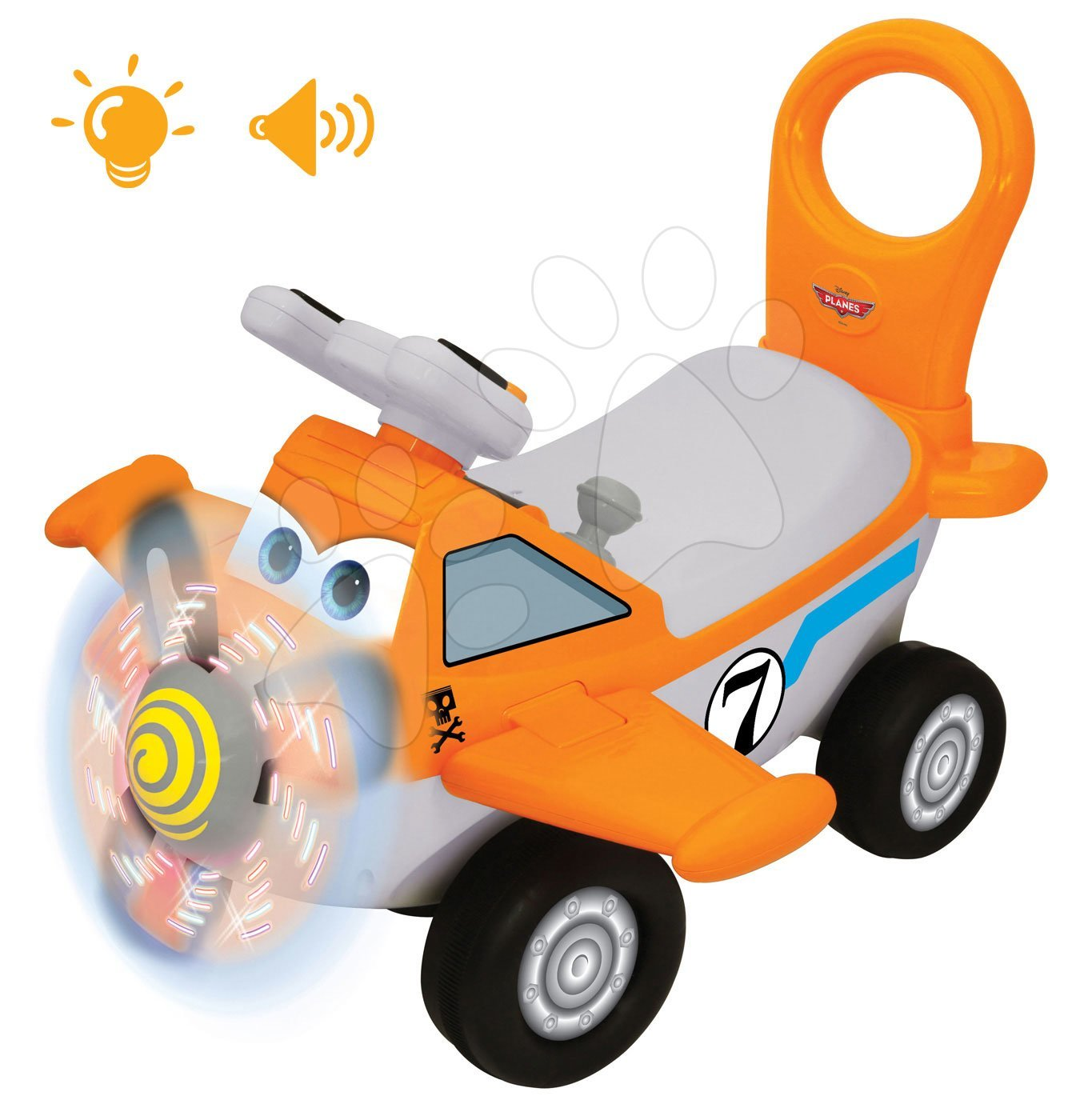 Elektronski poganjalec Disney Kiddieland letalo Dusty z lučko oranžen od 12 mes