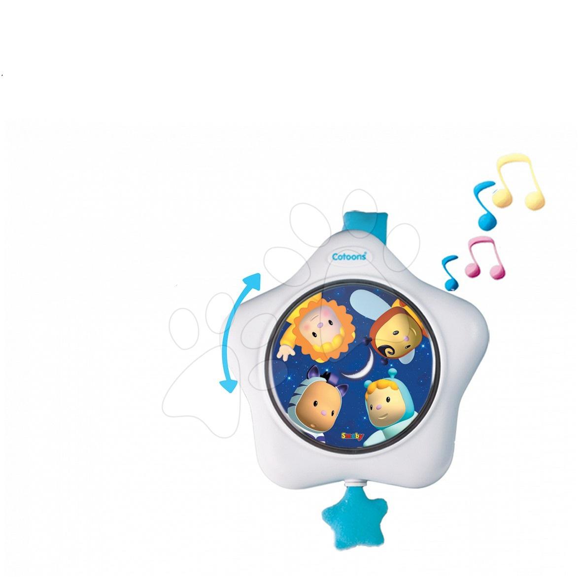 Zpívající hvězda Cotoons nad postýlku Smoby bílo-modrá pro kojence