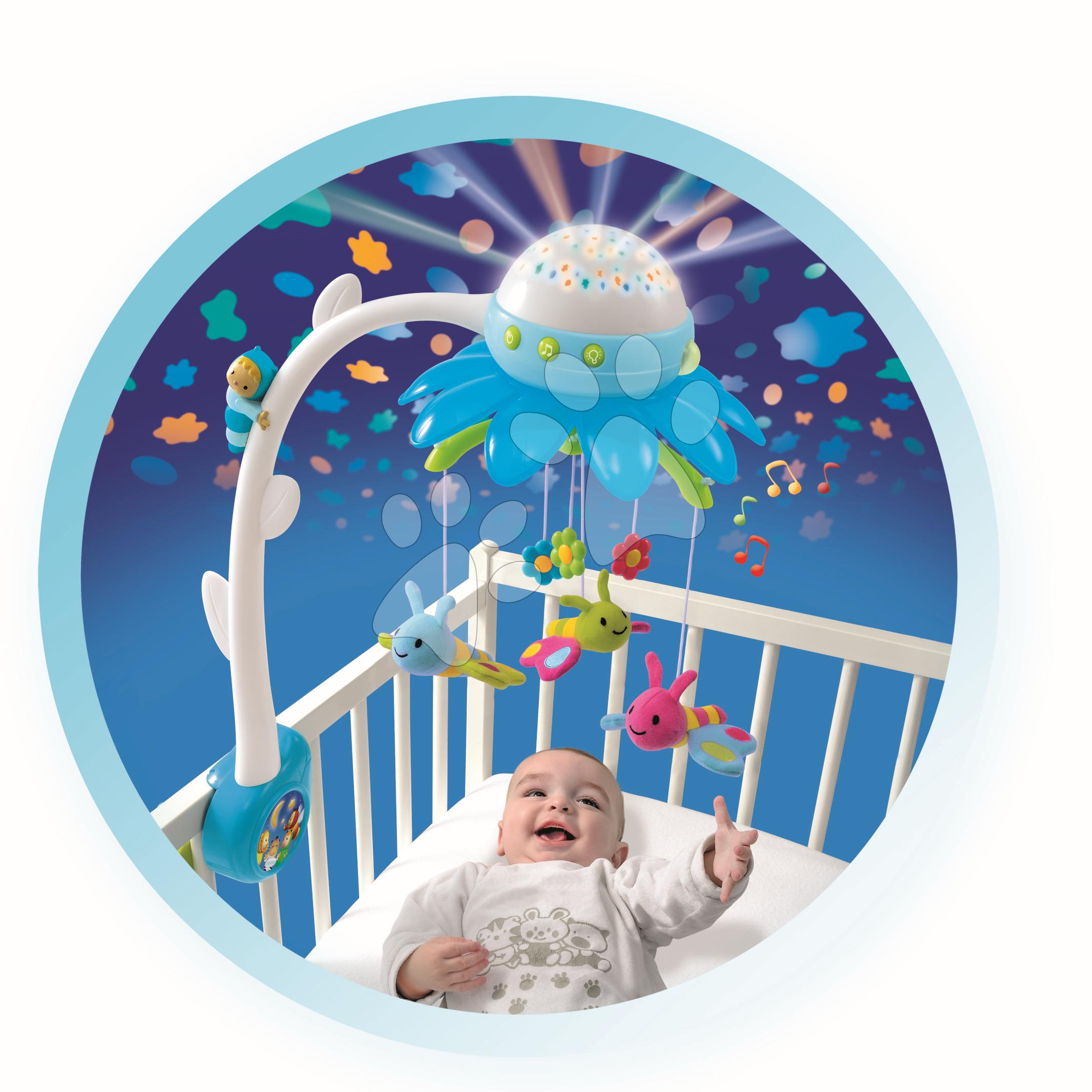 SMOBY 211374 modrý kolotoč nad postieľku kvet Cotoons pre najmenšie deti