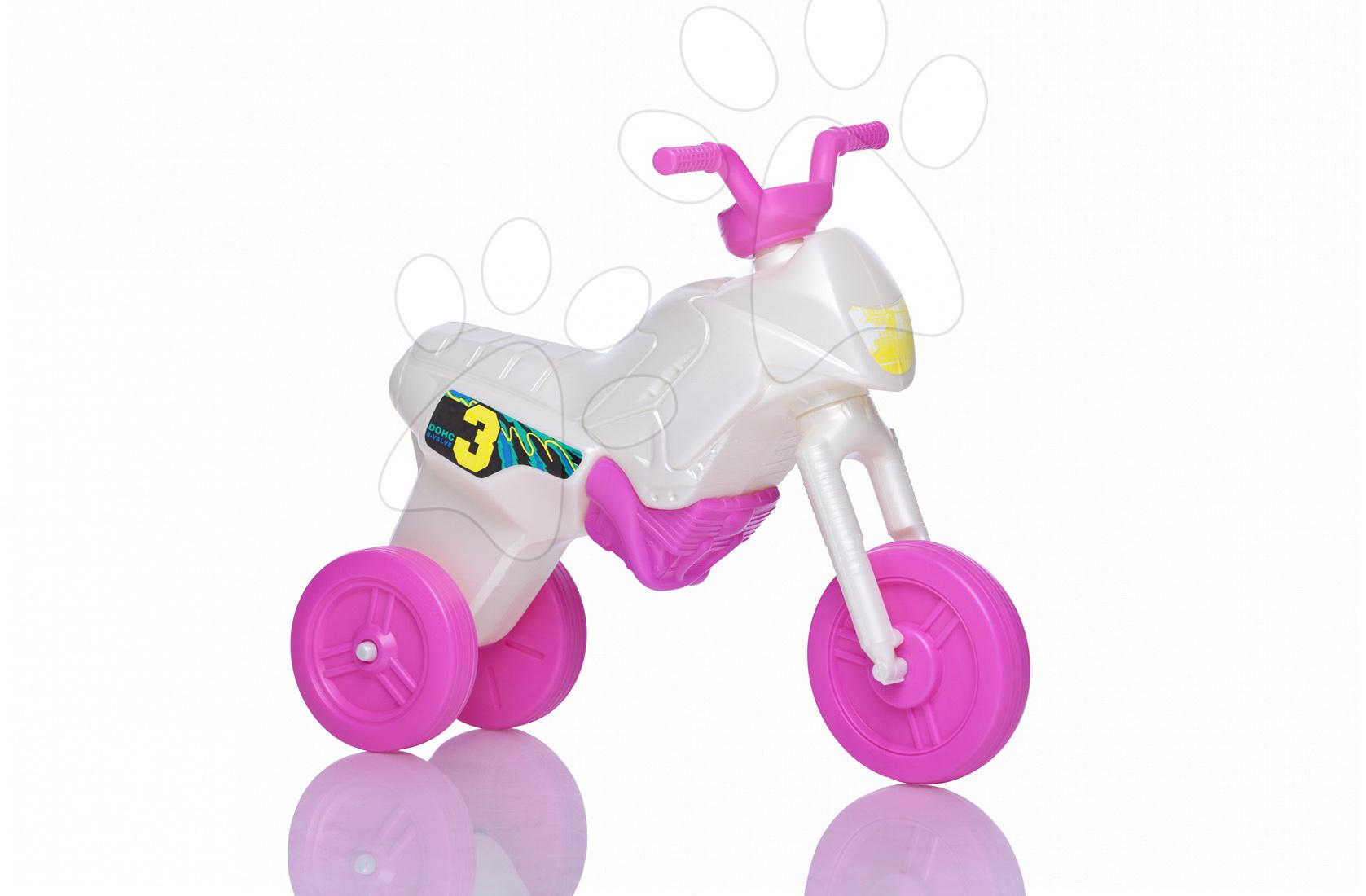 Motorky - Odrážadlo Enduro malé bielo-ružové od 18 mes