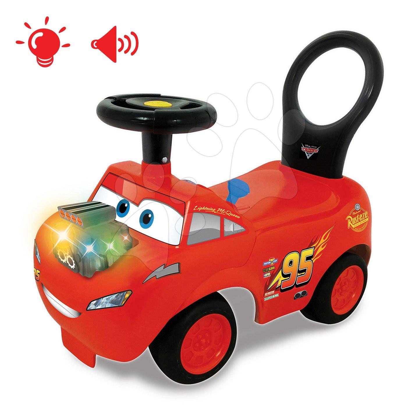 Poganjalec z motorjem Cars McQueen Disney Kiddieland elektronski z zvokom in lučko rdeč od 12 mes