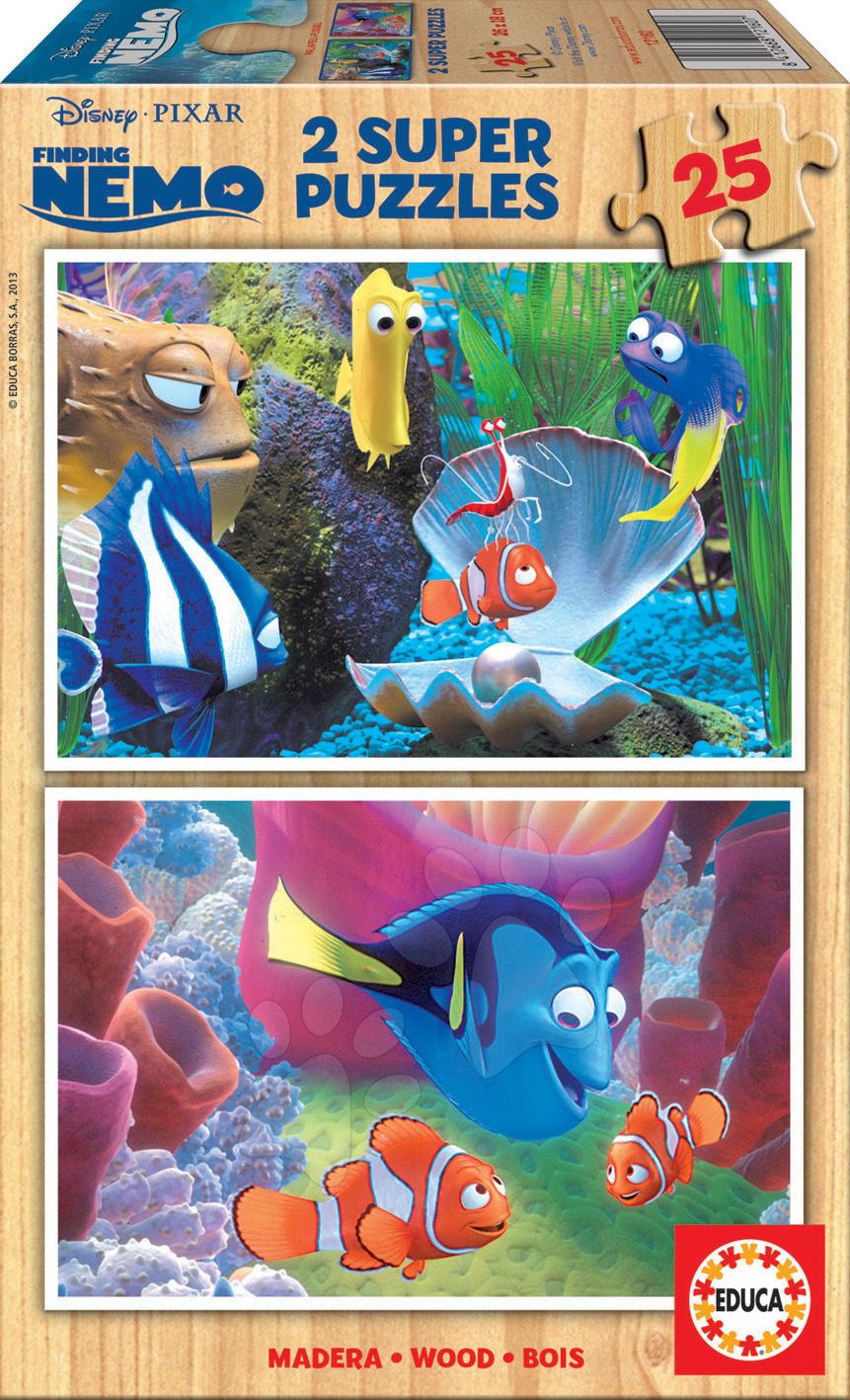 Dřevěné Disney puzzle - Dřevěné puzzle Hledá se Nemo Educa 2x25 dílů od 24 měsíců