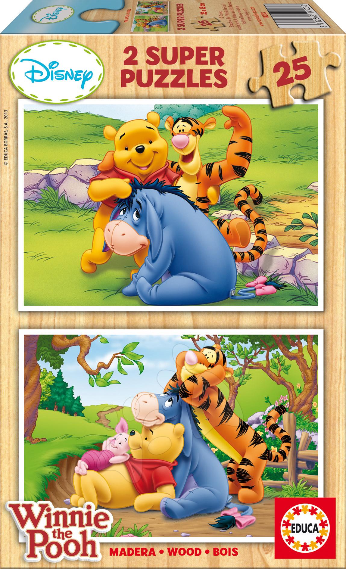 Dřevěné Disney puzzle - Dřevěné puzzle Medvídek Pú Educa 2x25 dílů