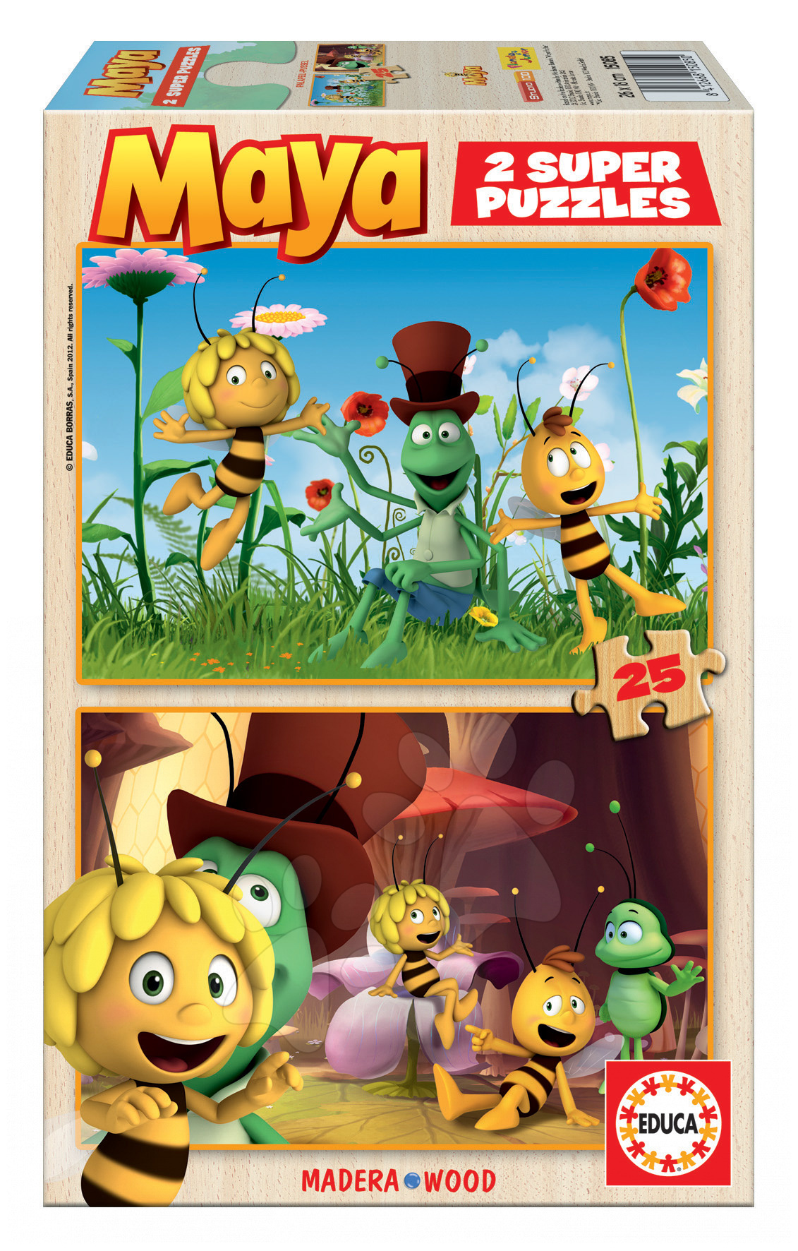 Drevené Disney puzzle - Drevené puzzle Včielka Maja Educa 2x 25 dielov