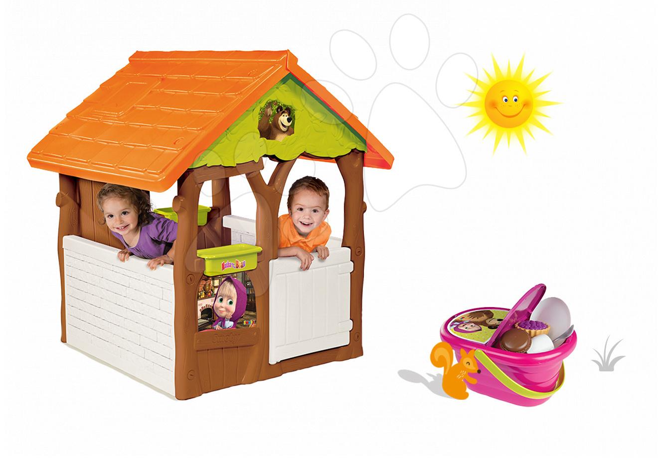 Set domeček Máša a medvěd Smoby s květináčem a piknikový košík s nádobím od 24 měsíců