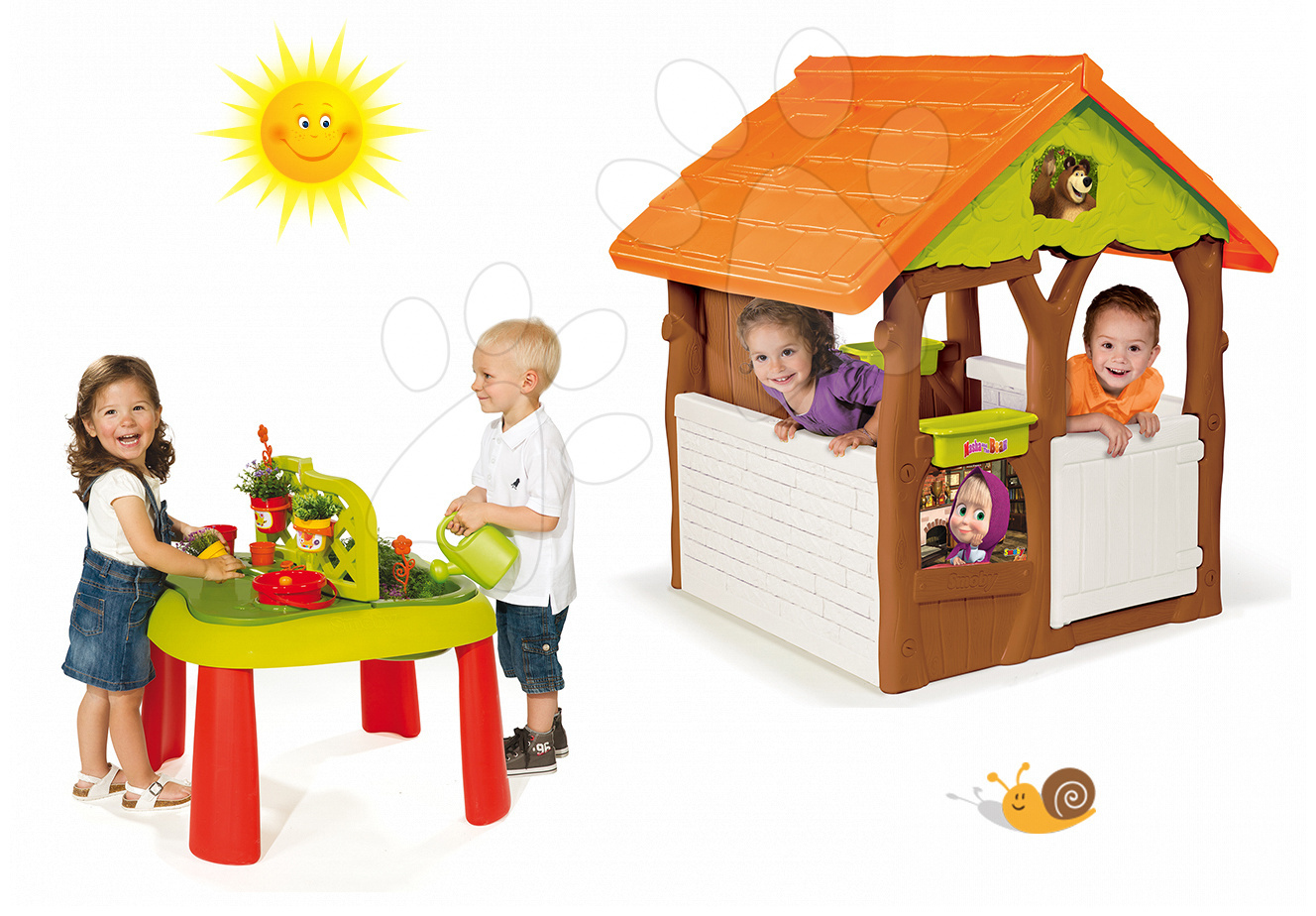 Set domeček Máša a medvěd Smoby s květináčem a stůl Zahradník De Jardinage od 24 měsíců
