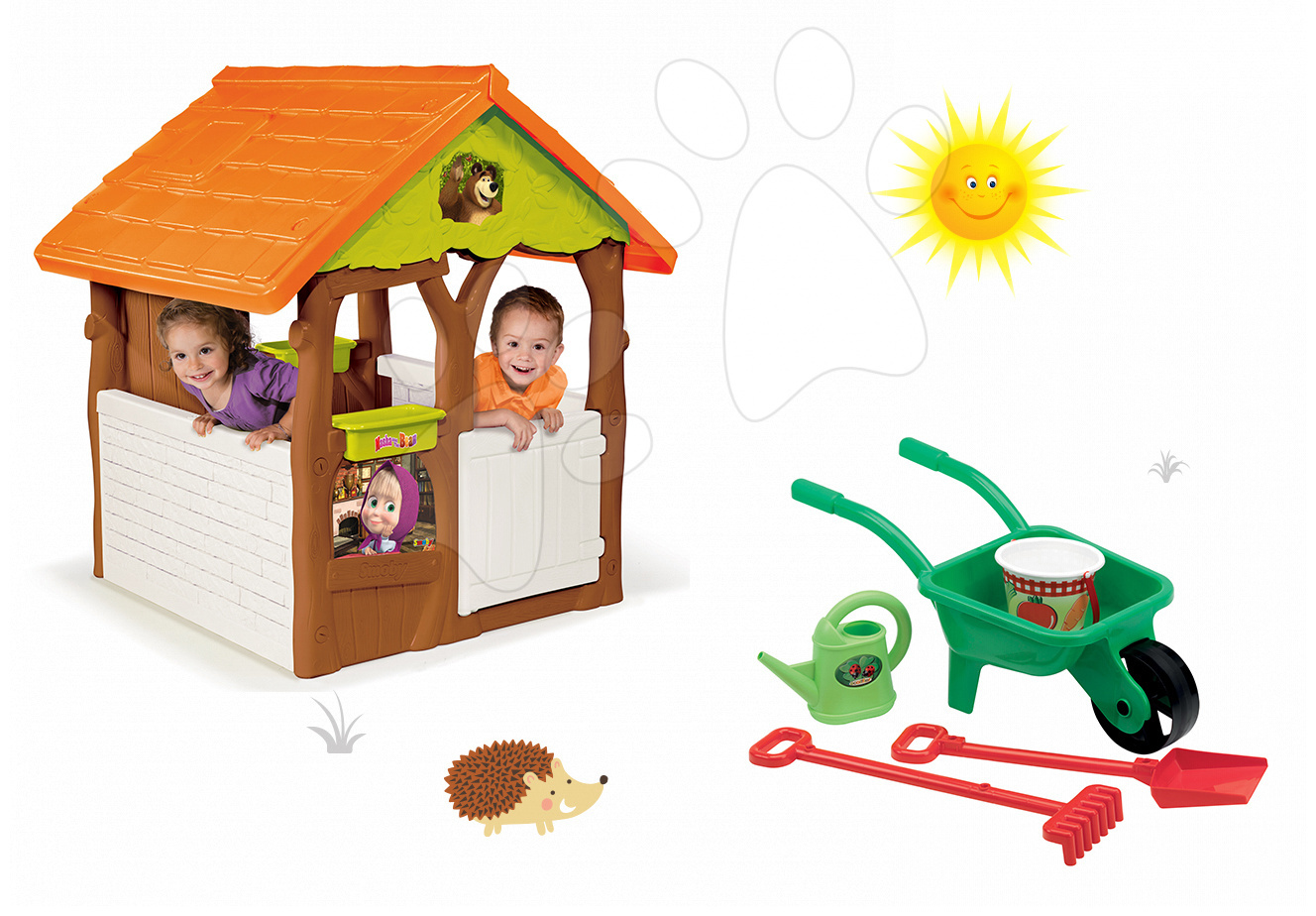 Set domeček Máša a medvěd Smoby s květináčem a kolečko set se zahradnickým nářadím od 24 měsíců