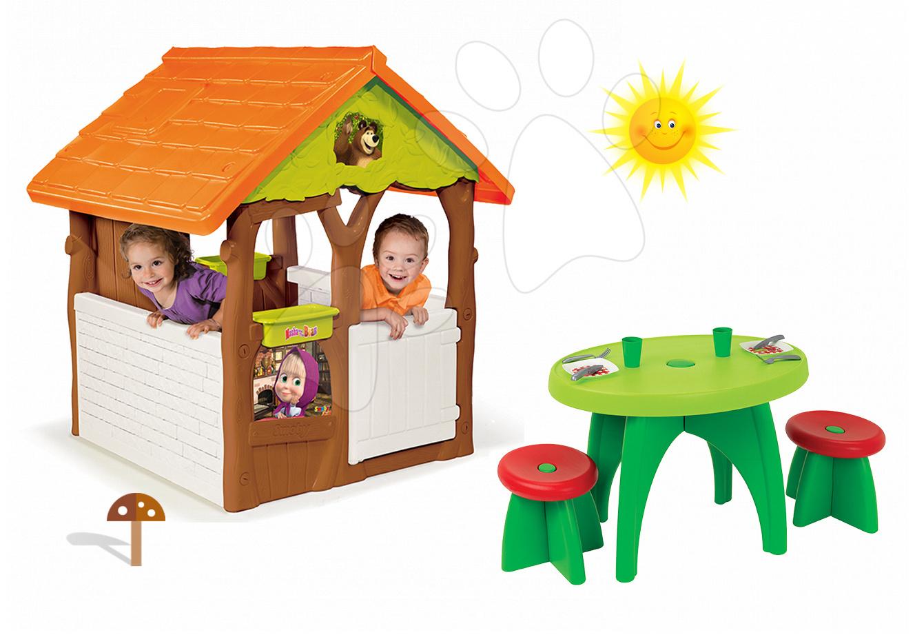 Domčeky sety - Set domček Máša a medveď Smoby s kvetináčom a piknikový stolík so stoličkami od 24 mes