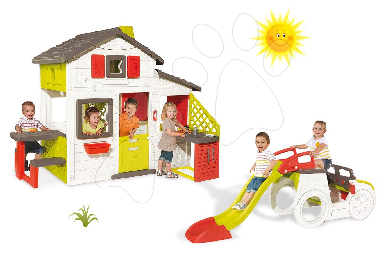 Set domeček Přátel Smoby s kuchyňkou a zvonkem a prolézačka Auto se skluzavkou dlouhou 150 cm