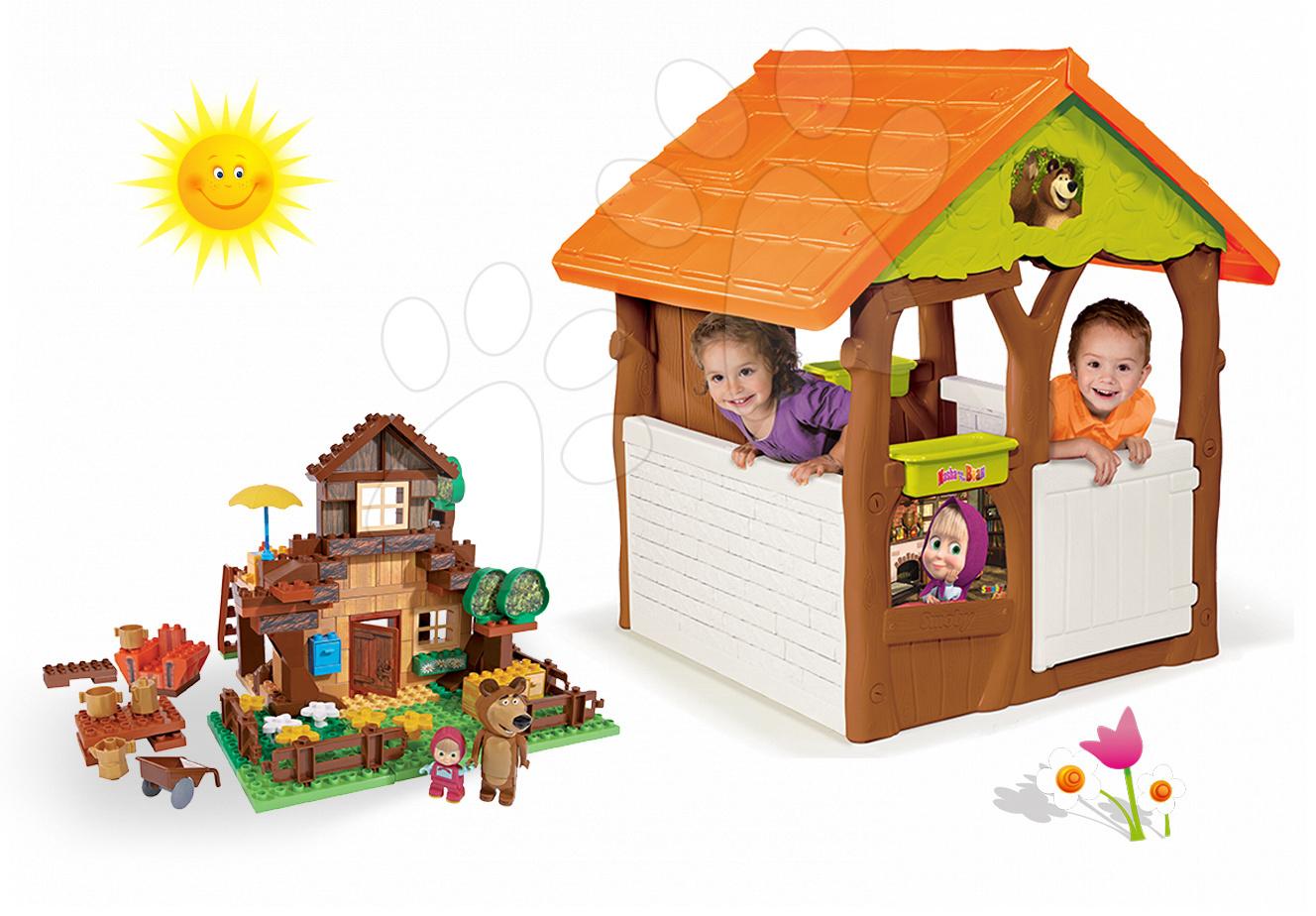 Domčeky sety - Set domček Máša a medveď Smoby s kvetináčom a stavebnica PlayBIG Bloxx domček 162 dielov od 24 mes