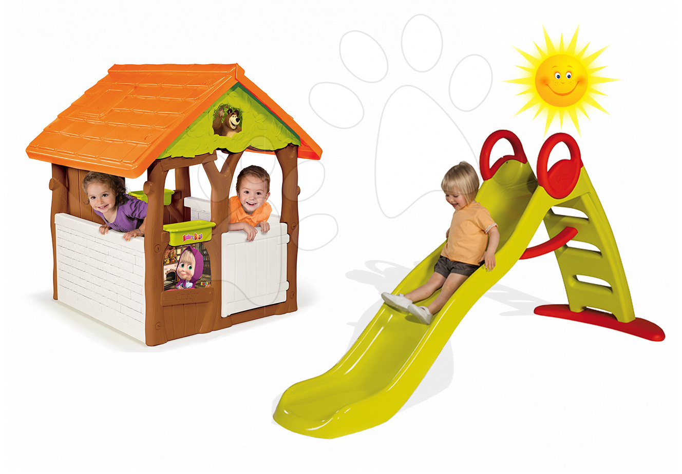 Domčeky so šmykľavkou - Set domček Máša a medveď Smoby s kvetináčom a šmykľavka Toboggan Funny vlnkovitá s dĺžkou 2 m od 24 mes