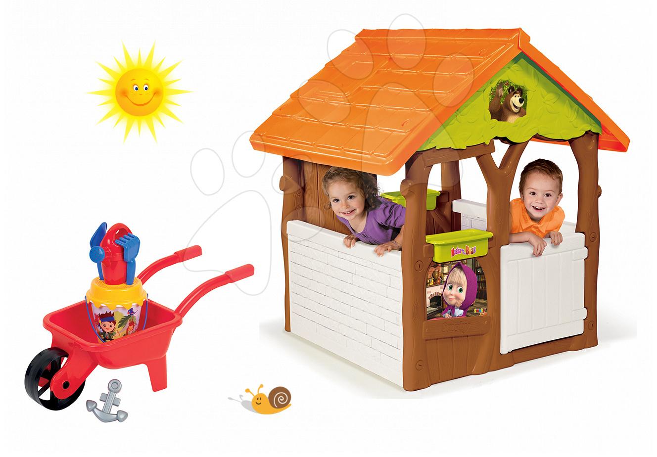 Set domeček Máša a medvěd Smoby s květináčem a kolečko do písku s kbelík setem od 24 měsíců