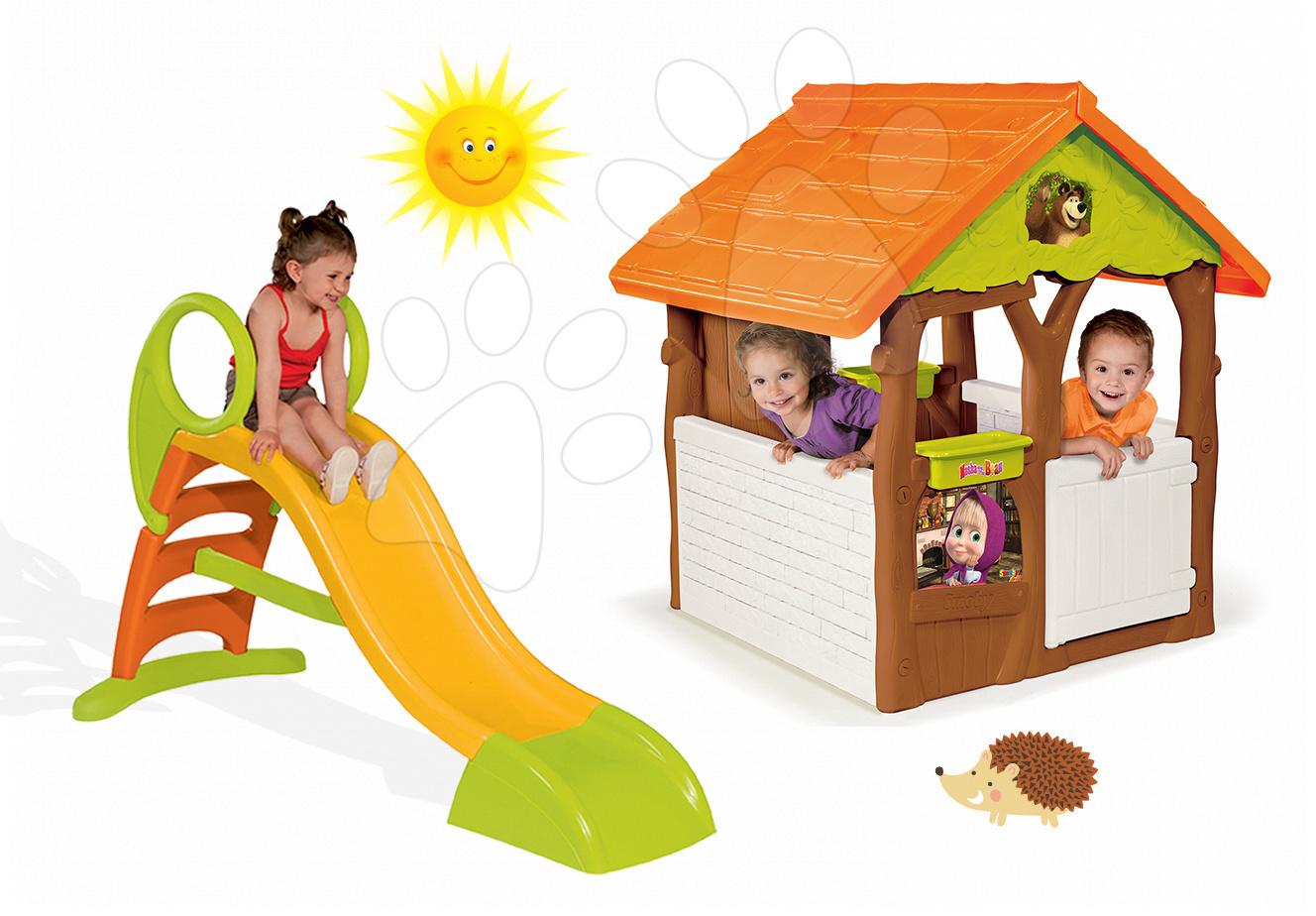 Domčeky so šmykľavkou - Set domček Máša a medveď Smoby s kvetináčom a šmykľavka Toboggan KS s dĺžkou 150 cm od 24 mes