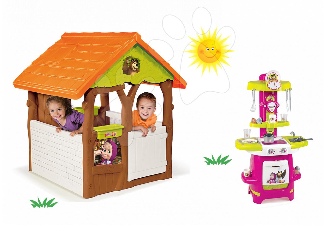 Set domeček Máša a medvěd Smoby s květináčem a kuchyňka s 22 doplňky od 24 měsíců