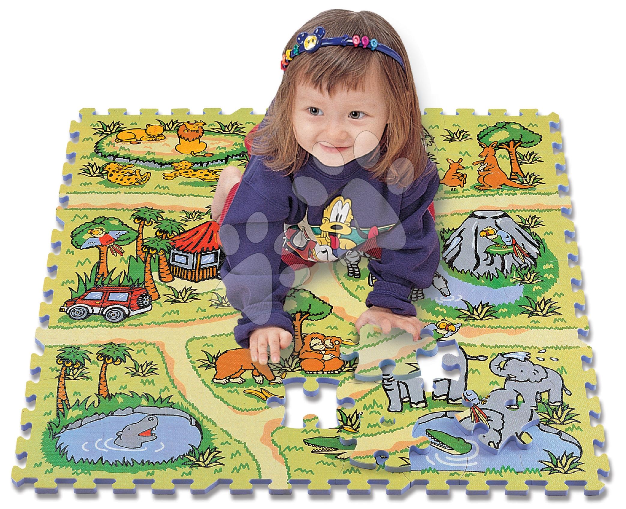Pěnové puzzle - Pěnové puzzle Safari zvířátka Lee 81 dílů 92*92*1,4 cm od 0 měsíců