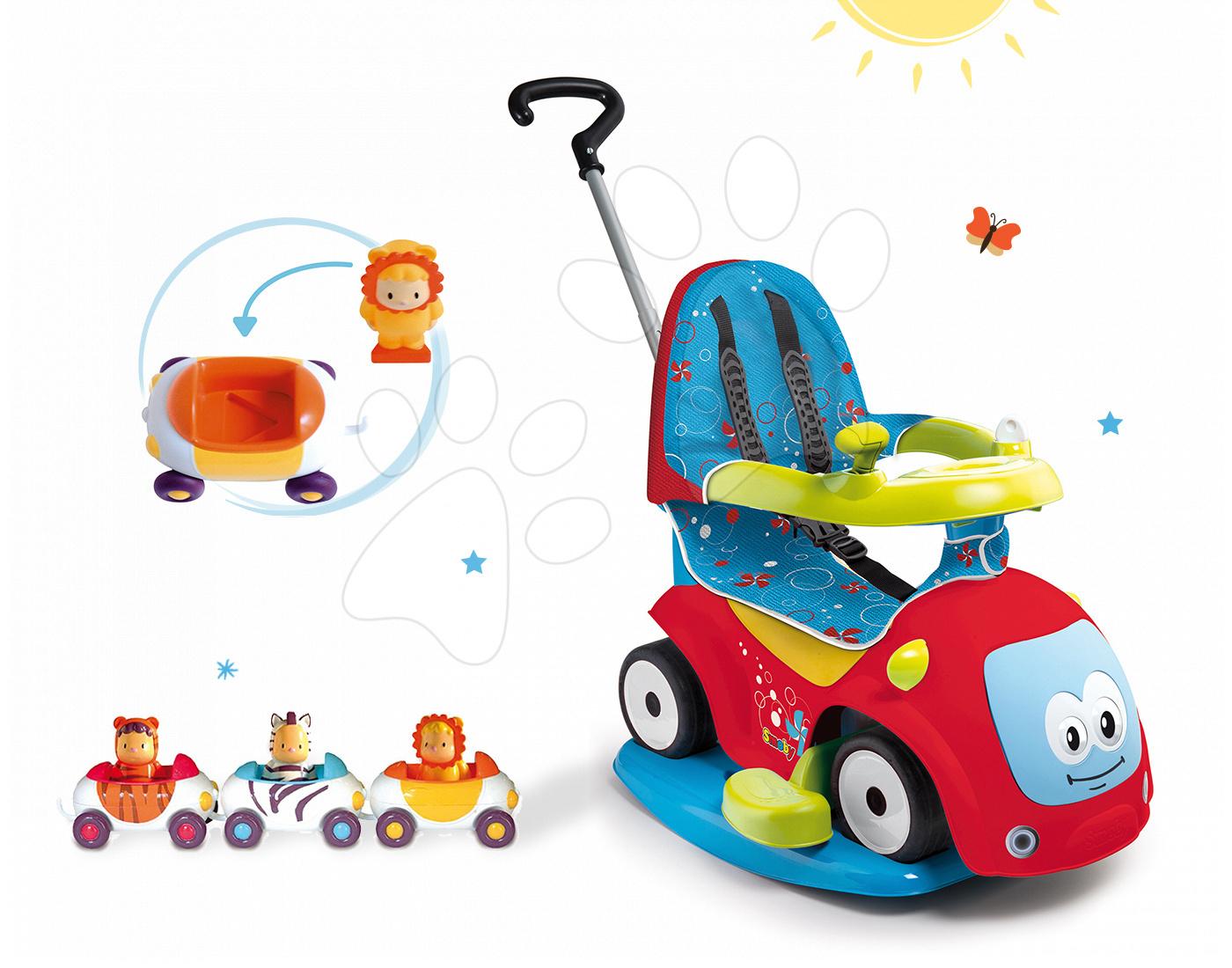 Set odrážedlo Maestro Confort Smoby s houpačkou a 3 autíčka Imagin Car Cotoons od 6 měsíců