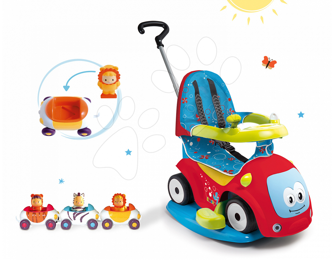 Smoby detské odrážadlo Maestro Confort a autíčka Imagin Car Cotoons 720400-8