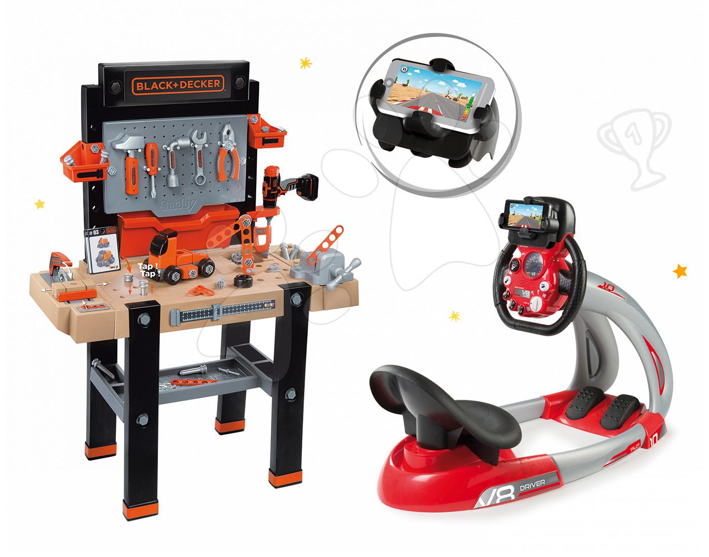 Smoby set dielňa Black+Decker a elektronický trenažér V8 Driver 360702-12