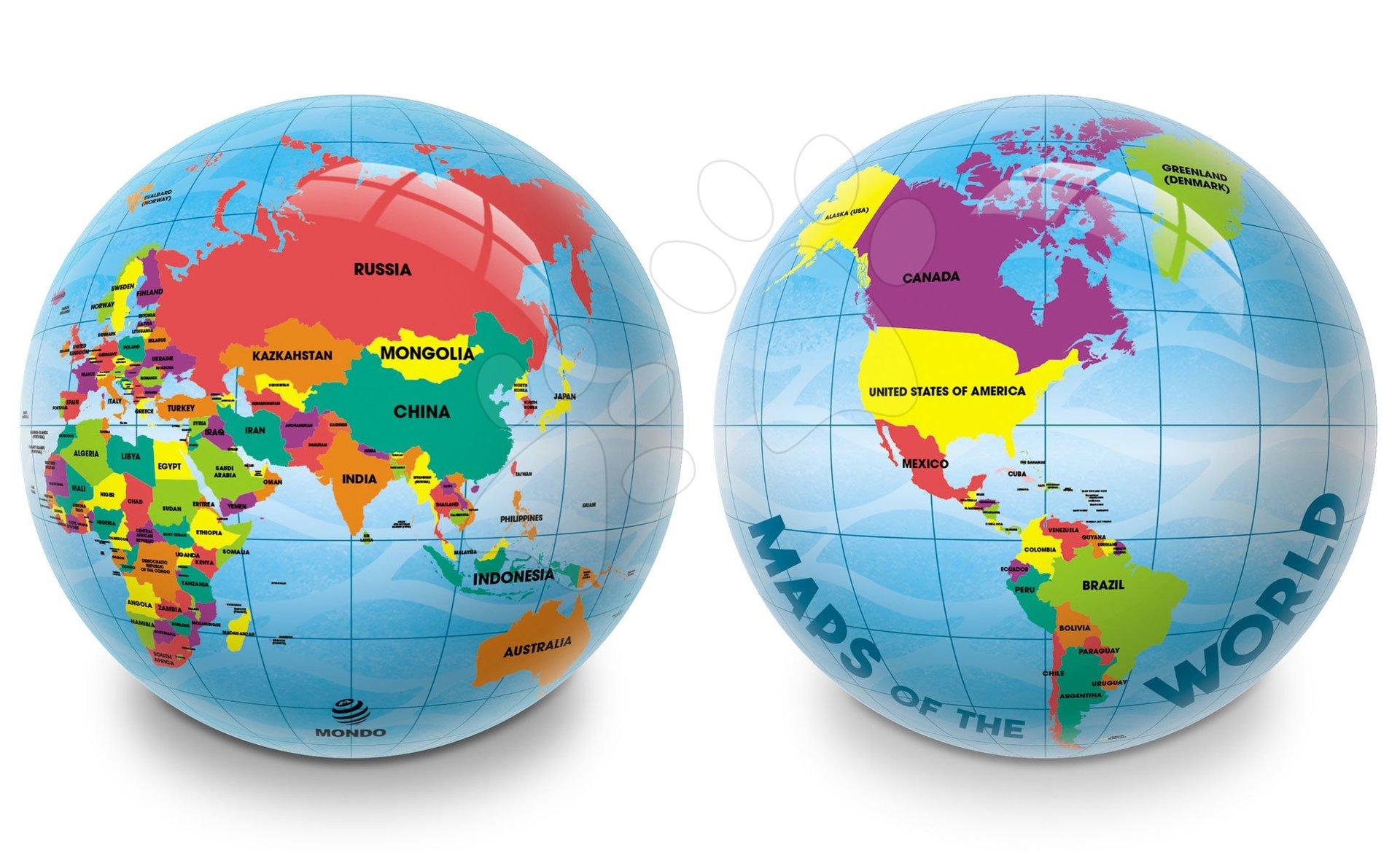 Mondo gumová lopta Mapa sveta 23 cm 6456