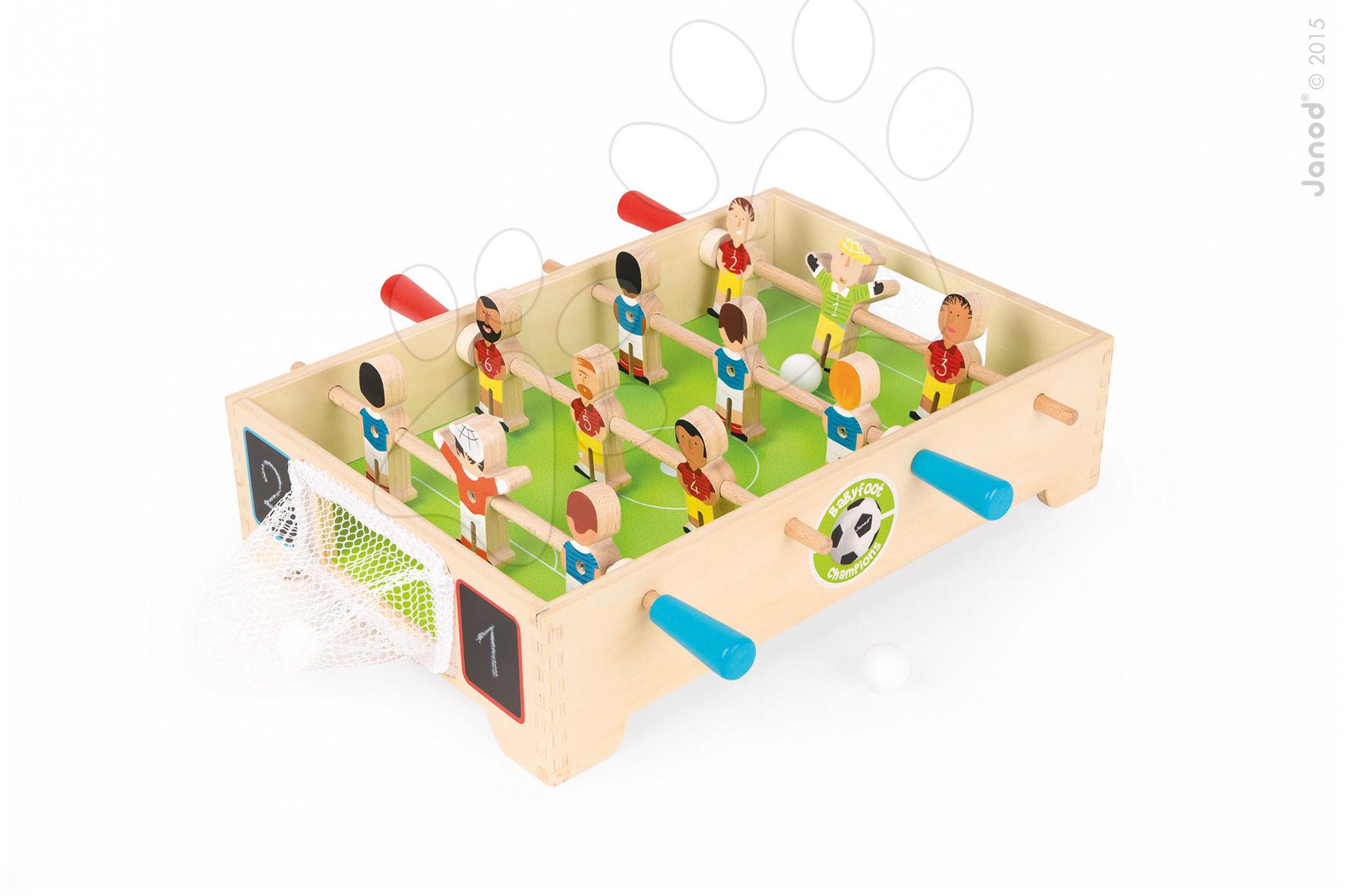 Dřevěný fotbalový stůl Champions Janod se síťovou bránou od 3-8 let