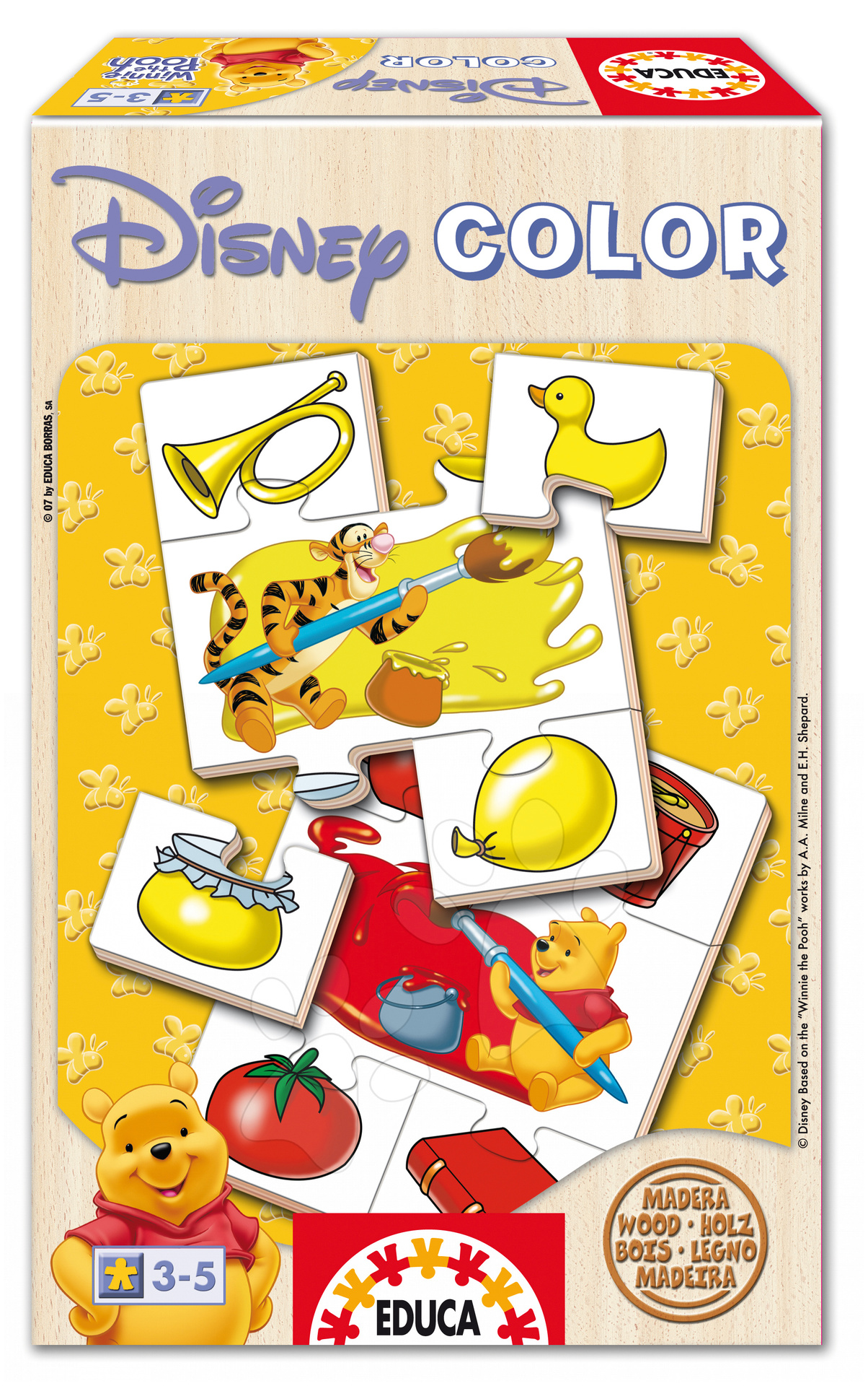 Staré položky - Baby Disney drevené puzzle Colour Macko Pu Educa Učíme sa farby a tvary od 24 mes