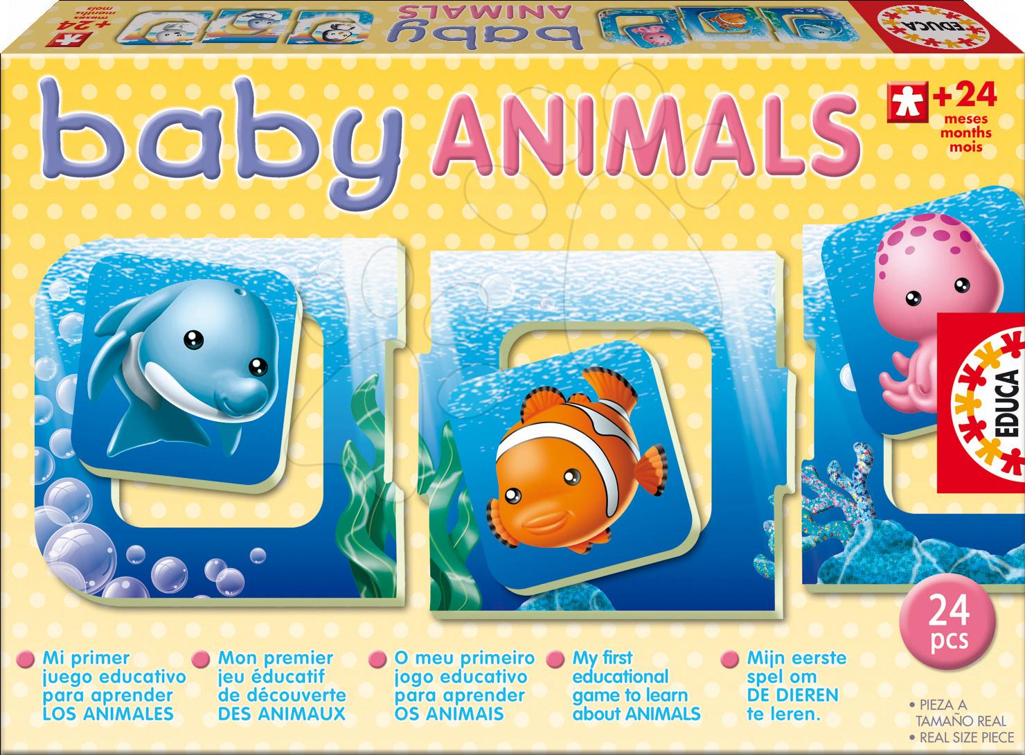 Bébi puzzle - Puzzle Baby Animals Tengeri állatok Educa 6 képpel 24 hó-tól