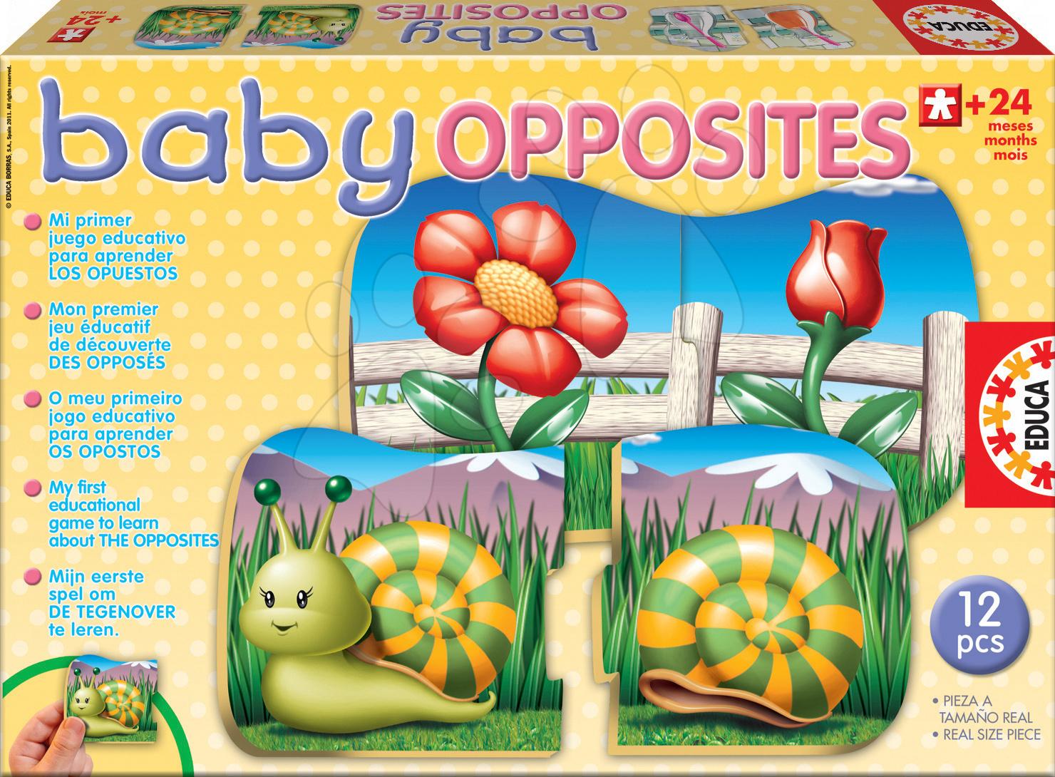 Puzzle pentru copii  - Puzzle Baby Opposites Opoziţii Educa cu 6 imagini de la 24 luni