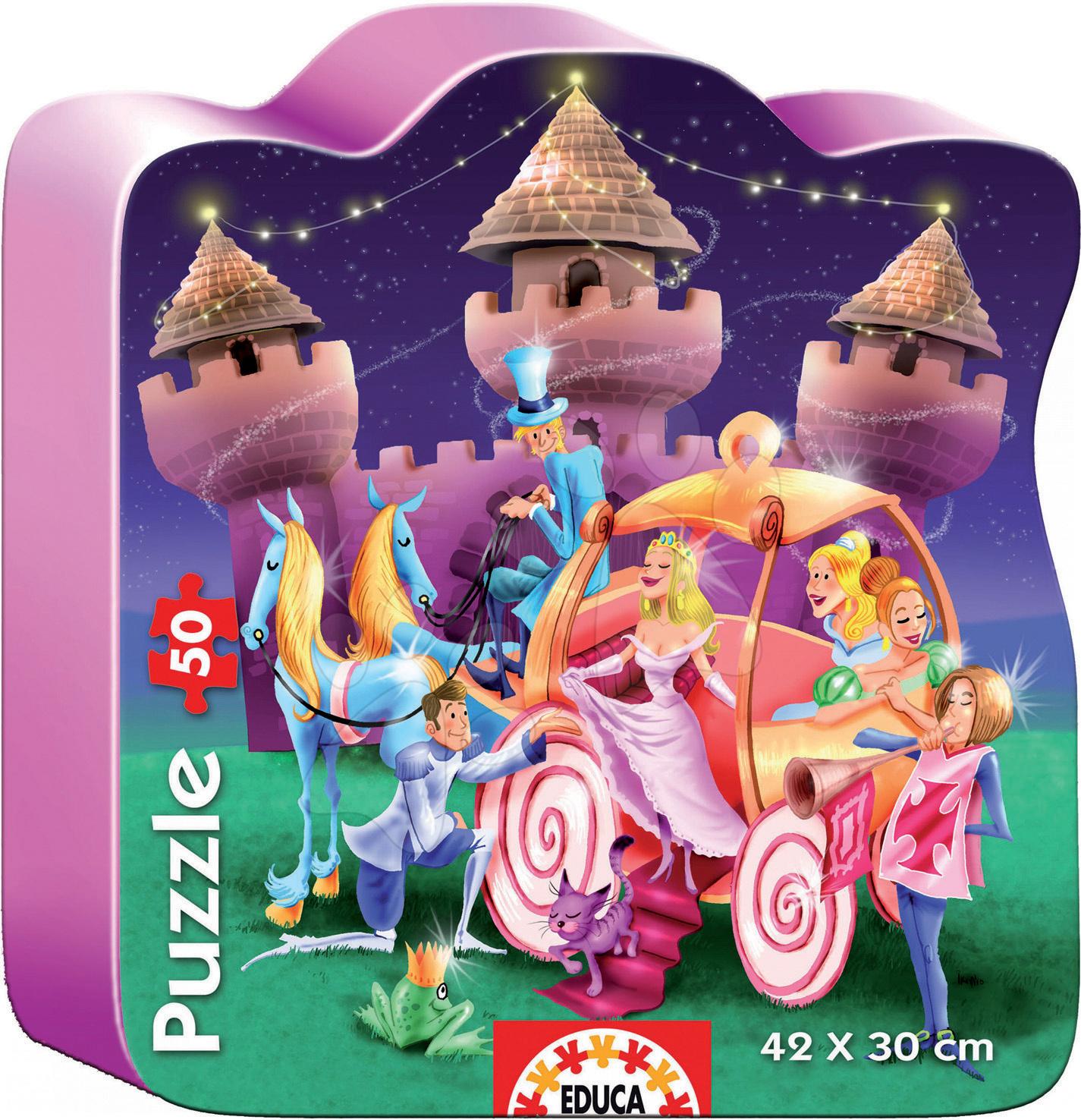 Detské puzzle do 100 dielov - Baby puzzle silueta Princeznin zámok Educa 50 dielov