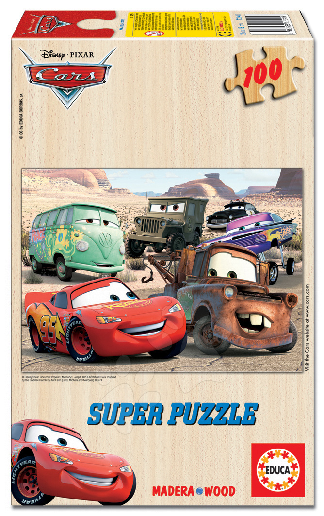 Dřevěné puzzle Auta Educa 100 dílů od 5 let
