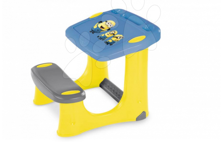 Školní lavice Mimoni Smoby s 20 doplňky žluto-modrá