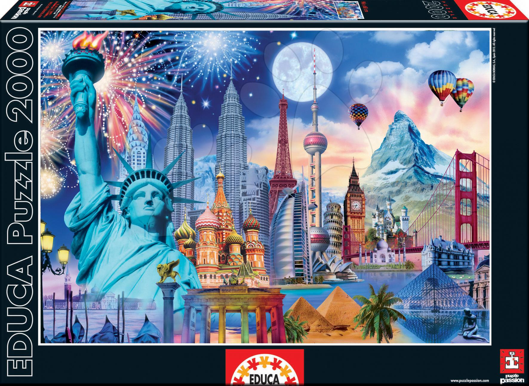 Puzzle World Monuments Educa 2000 dílků a FIX PUZZLE LEPIDLO