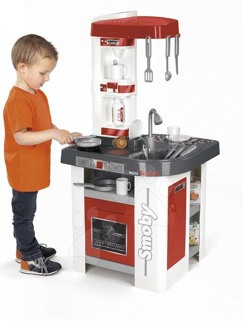 Dětská kuchyňka Tefal Studio Smoby elektronická se zvuky, se sodou a 25 doplňky červená