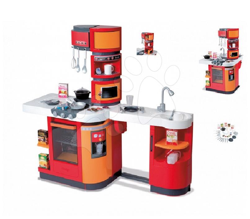 Elektronické kuchynky - Kuchynka CookMaster Smoby elektronická so zvukmi a 33 doplnkami červeno-oranžová