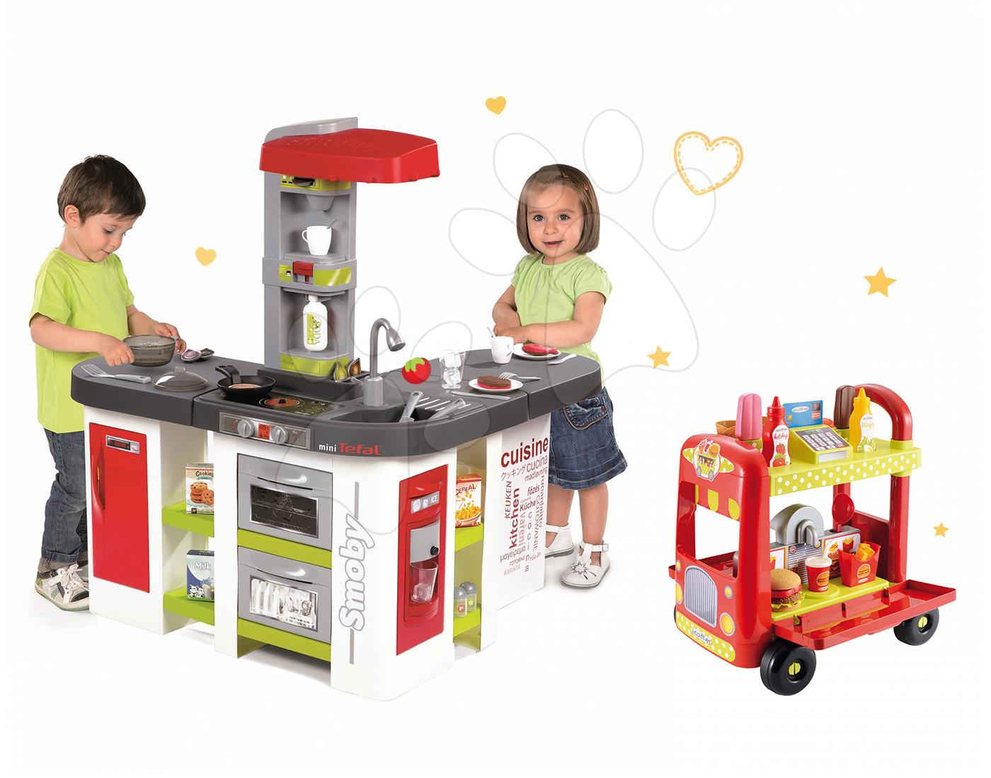 Set dětská kuchyňka Tefal Studio XXL Smoby elektronická s magickým bubláním a zmrzlinářský vozík s hamburgery
