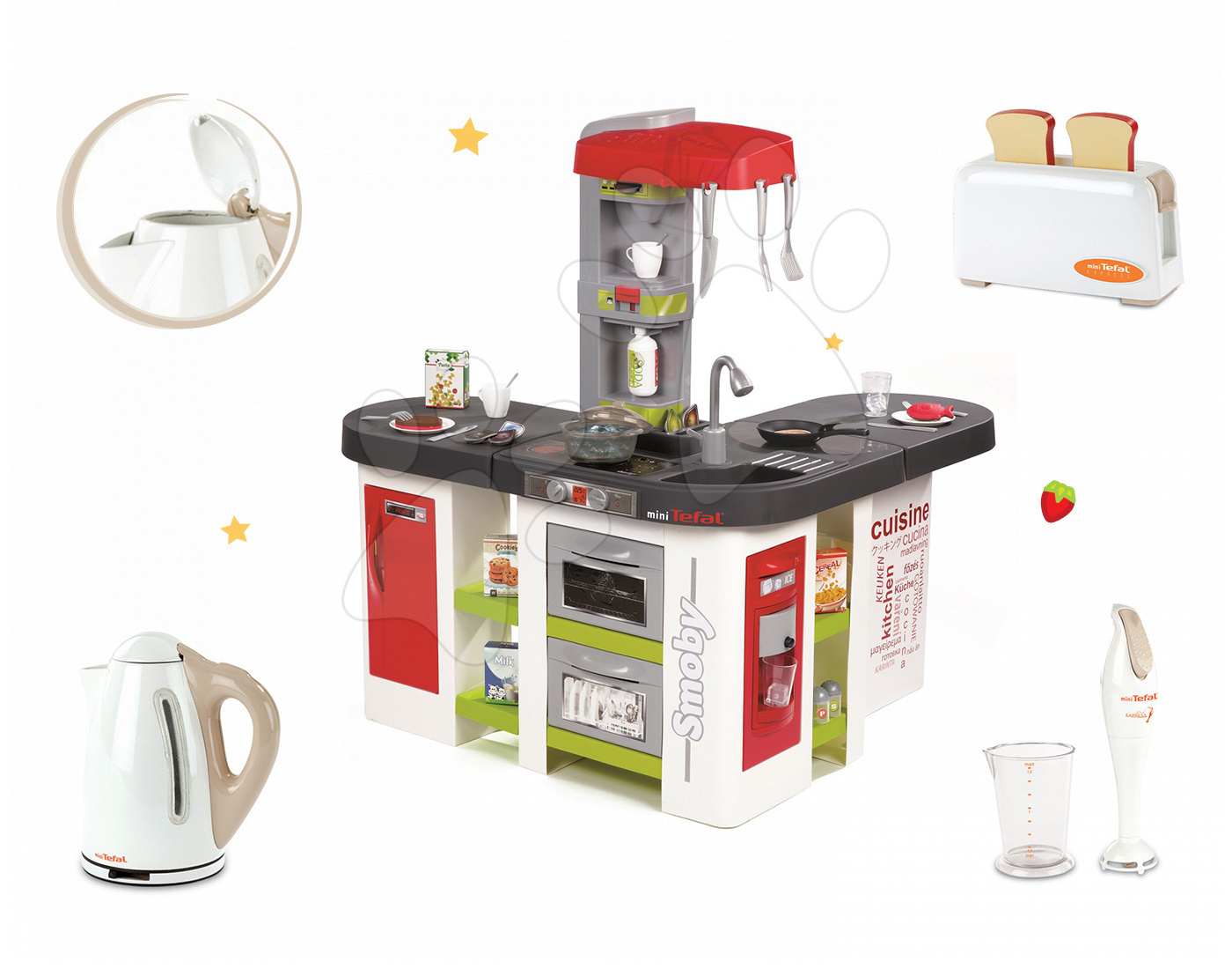 Set kuchyňka pro děti Tefal Studio XXL Smoby elektronická s magickým bubláním a 3 kuchyňské spotřebiče