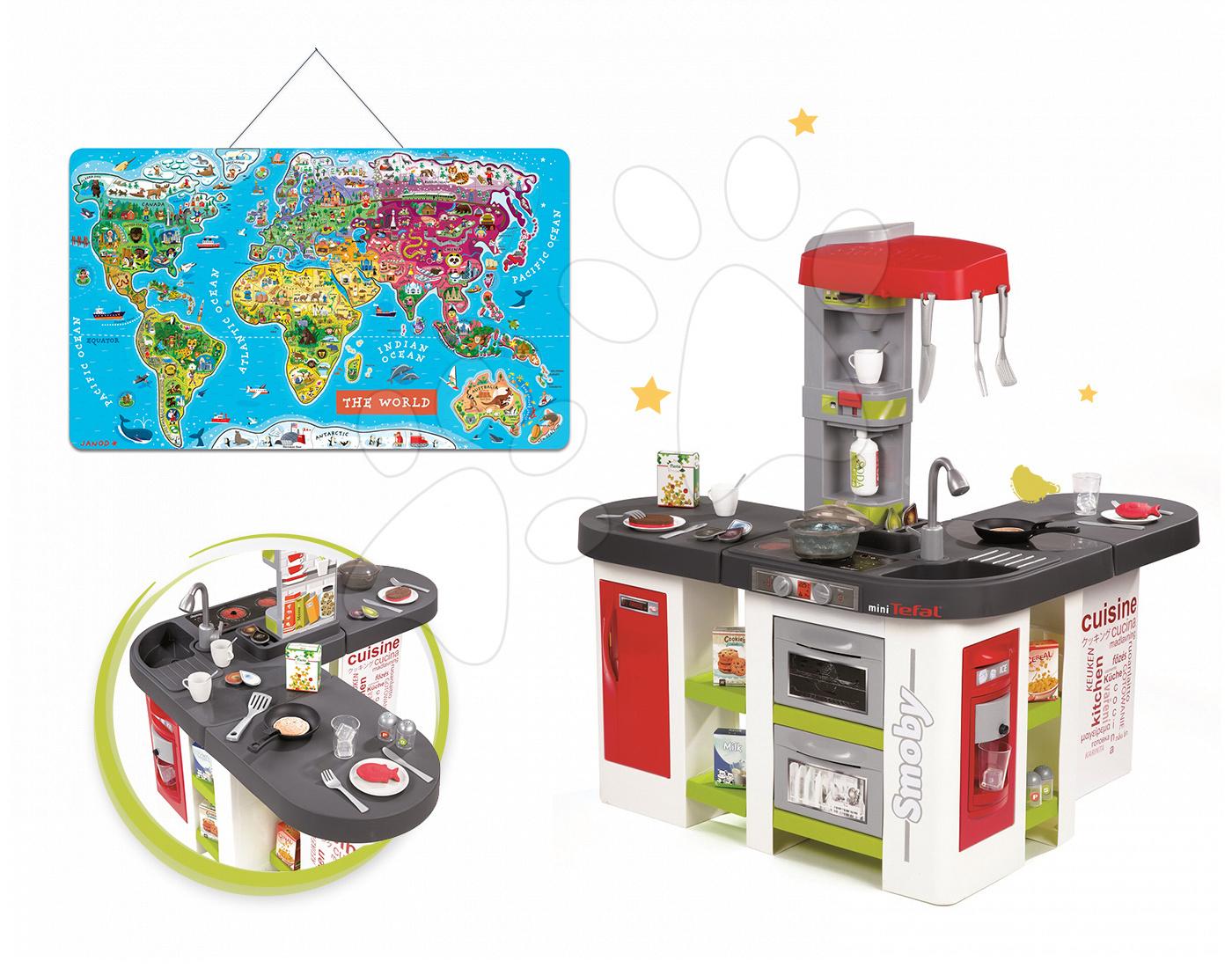 Set dětská kuchyňka Tefal Studio XXL Smoby elektronická s magickým bubláním a magnetická mapa světa