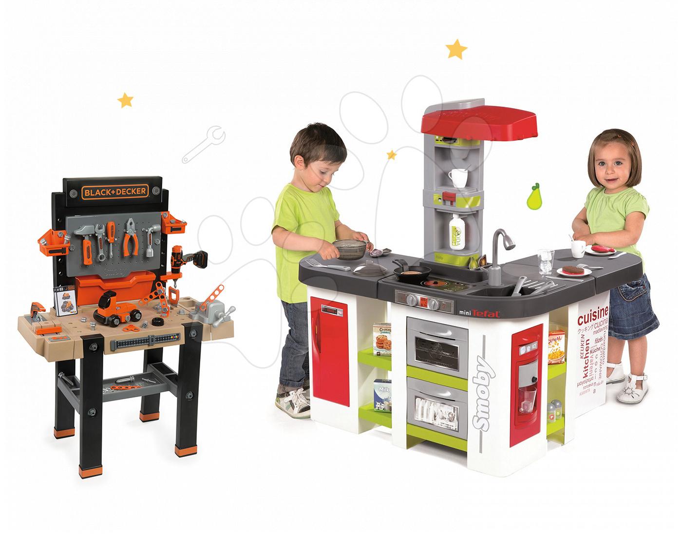 Set kuchyňka pro děti Tefal Studio XXL Smoby elektronická s magickým bubláním a pracovní dílna Black + Decker s vrtačkou