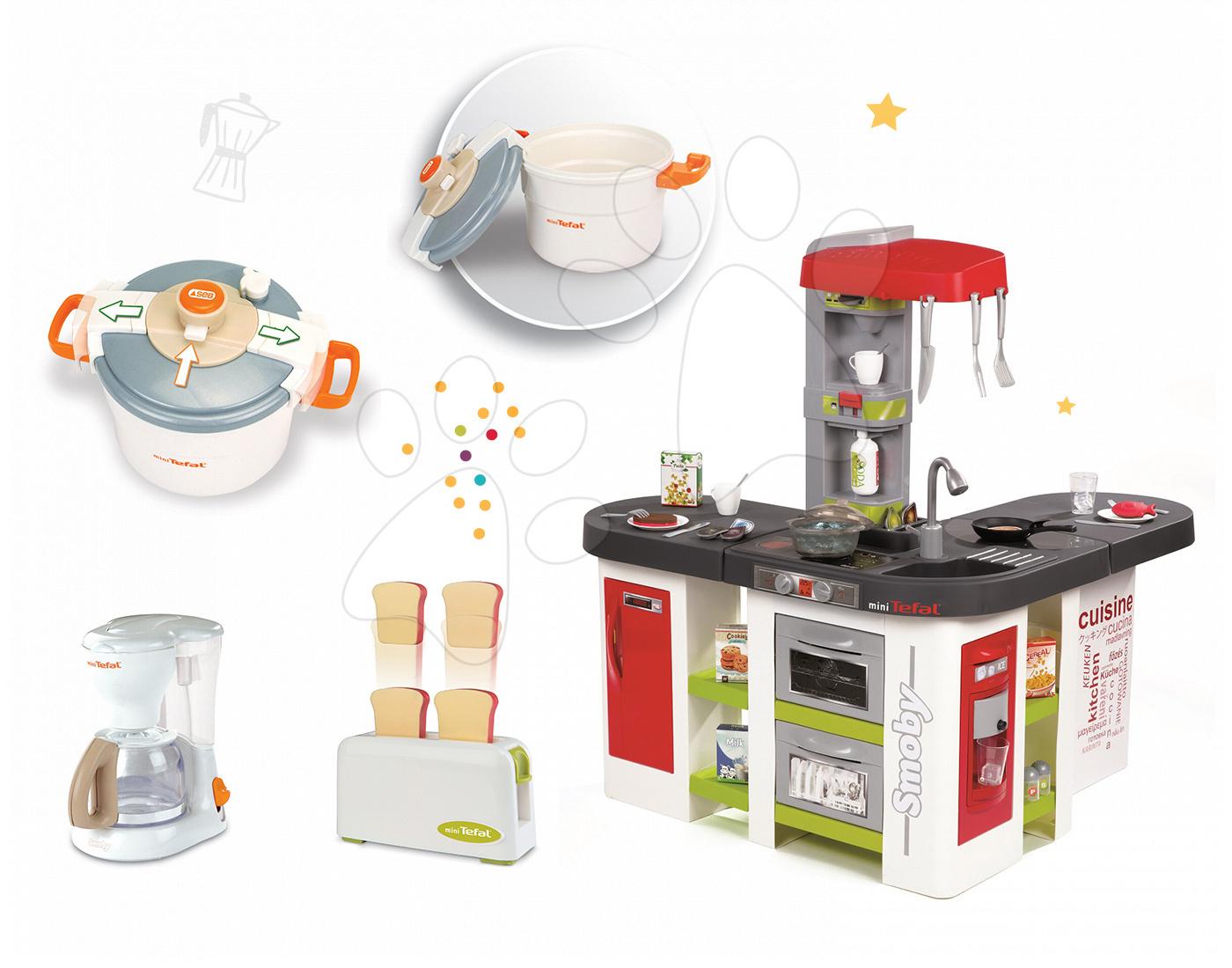 Set kuchyňka pro děti Tefal Studio XXL Smoby elektronická s magickým bubláním a sada 3 kuchyňských spotřebičů Tefal