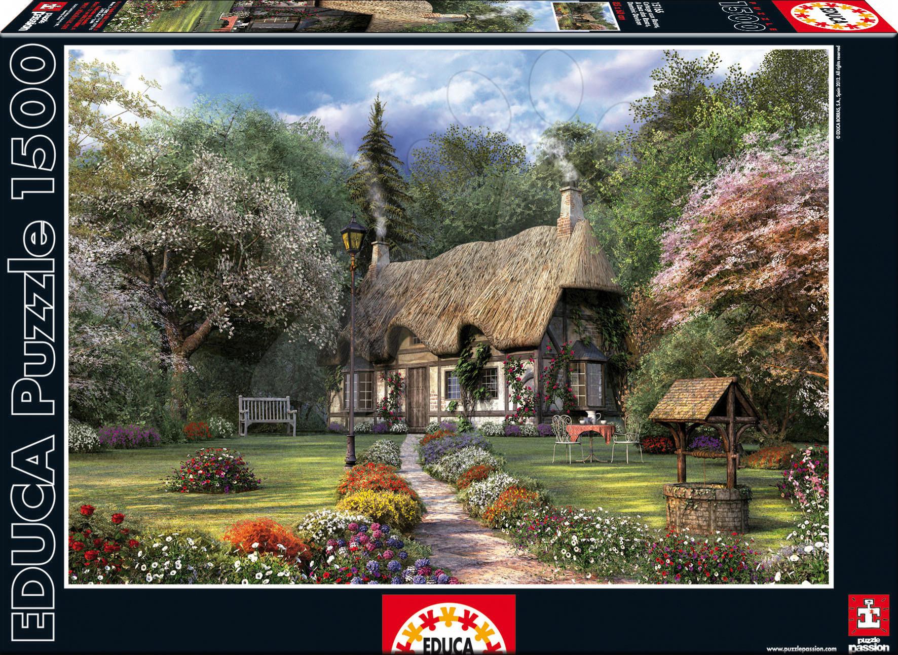 Puzzle 1500 dielne - Puzzle Rose Cottage, J. D. Davison Educa 1500 dielov