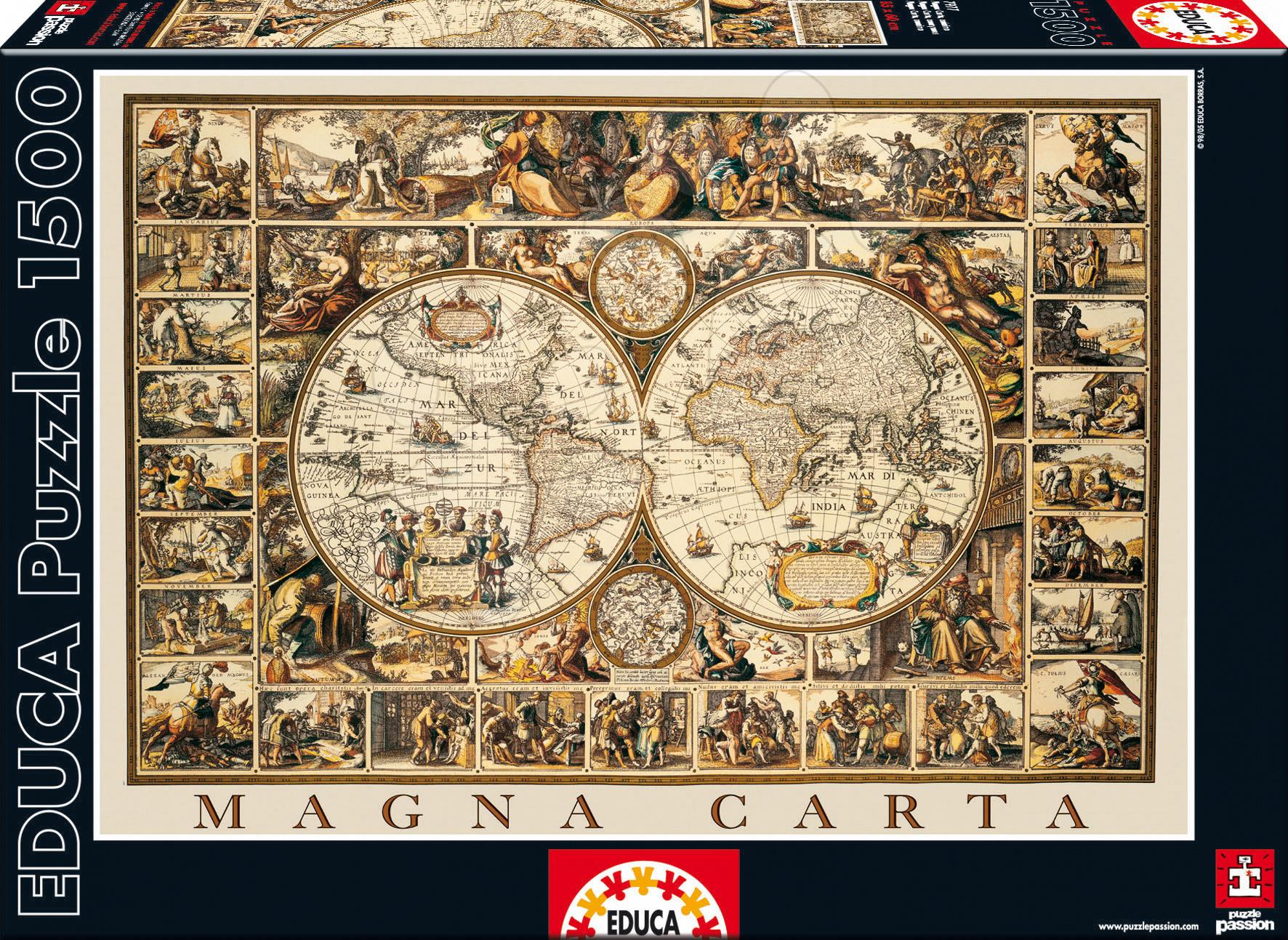 Puzzle 1500 dílků - Puzzle Magna carta / Anonymous / Educa 1500 dílků a FIX PUZZLE LEPIDLO